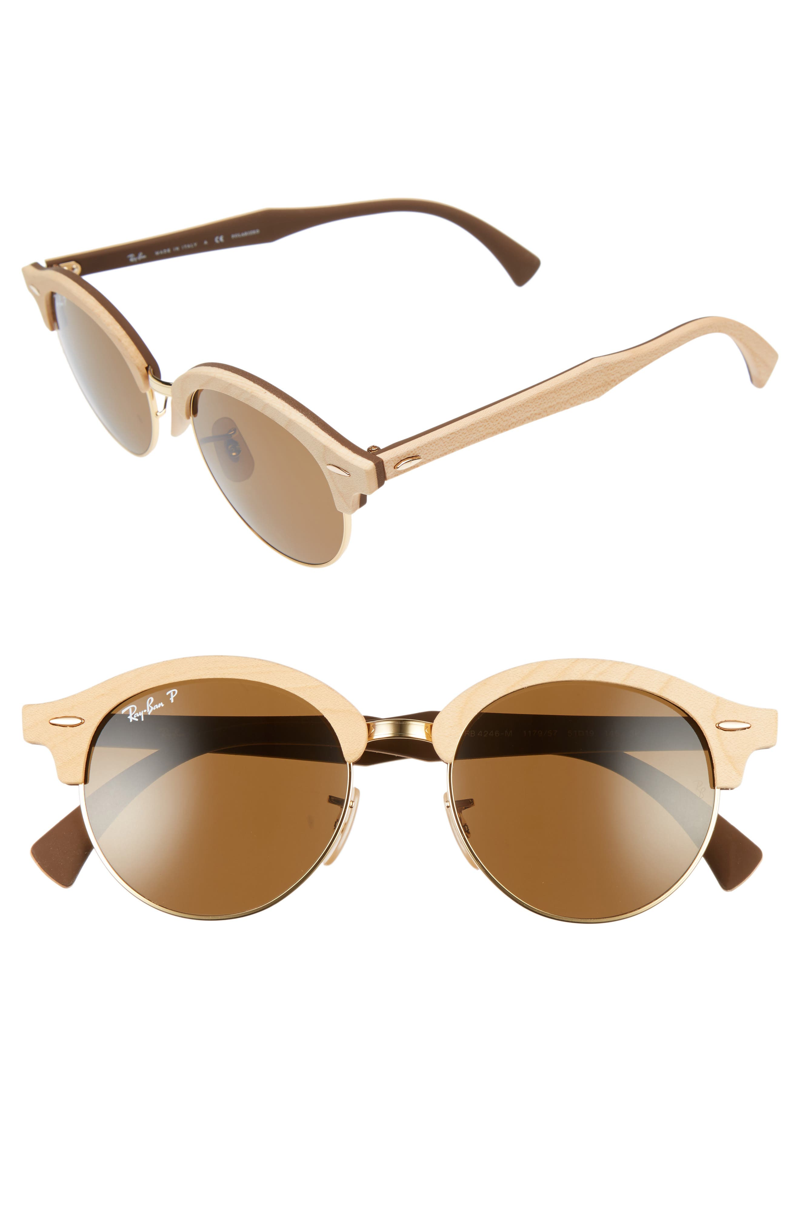 Main Image - Ray-Ban 51mm Polarized Round Sunglasses