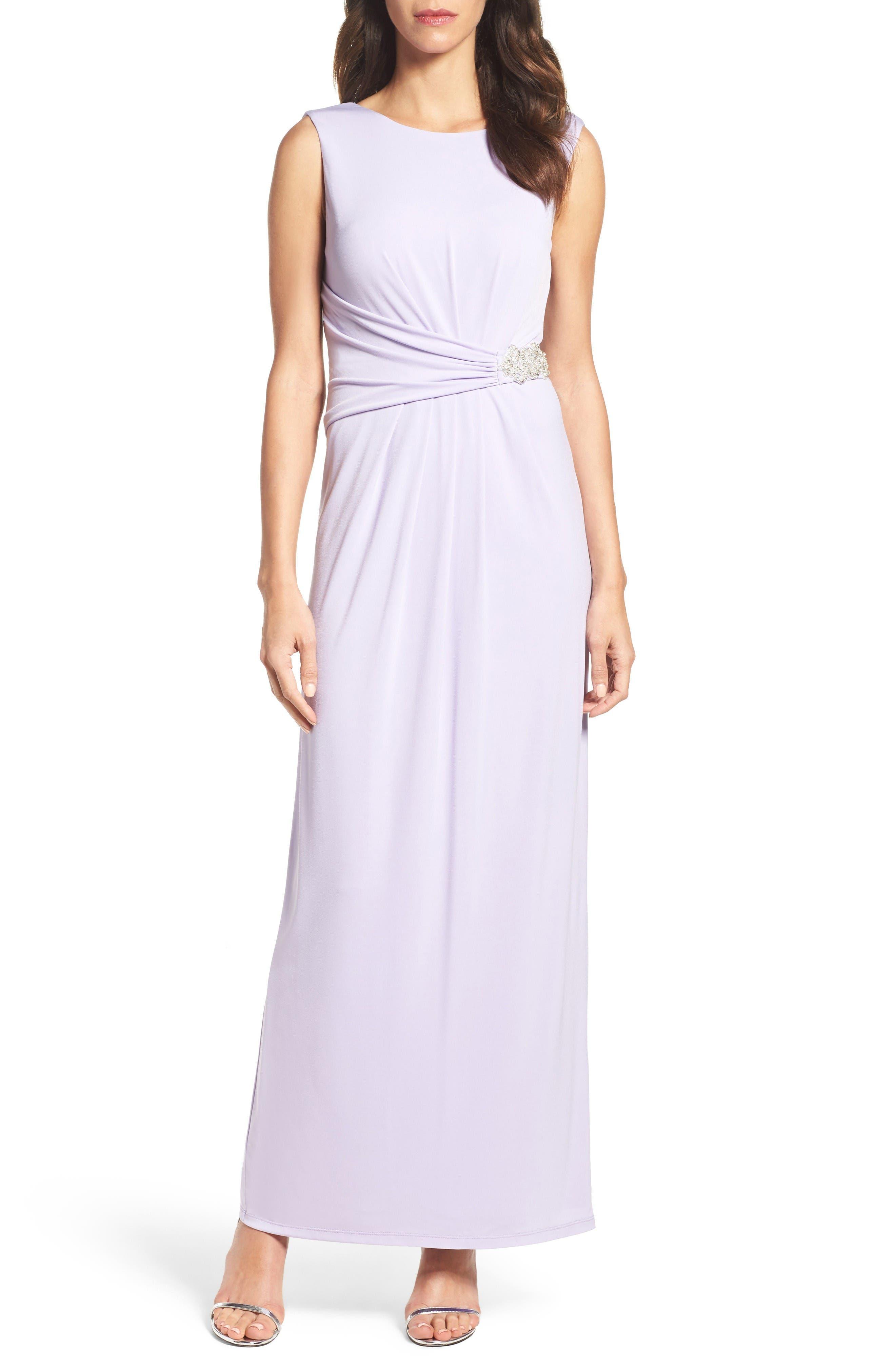 Ellen Tracy Embellished Jersey Gown