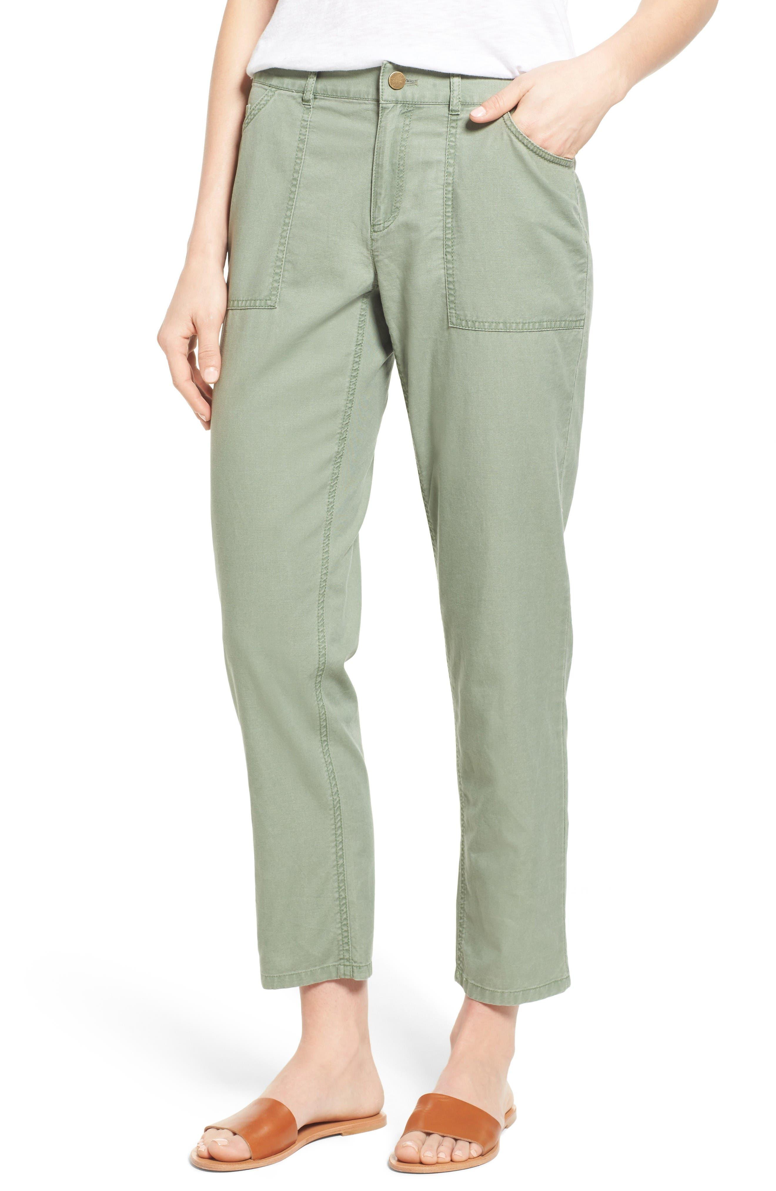 Caslon® Crop Utility Pants (Regular & Petite)