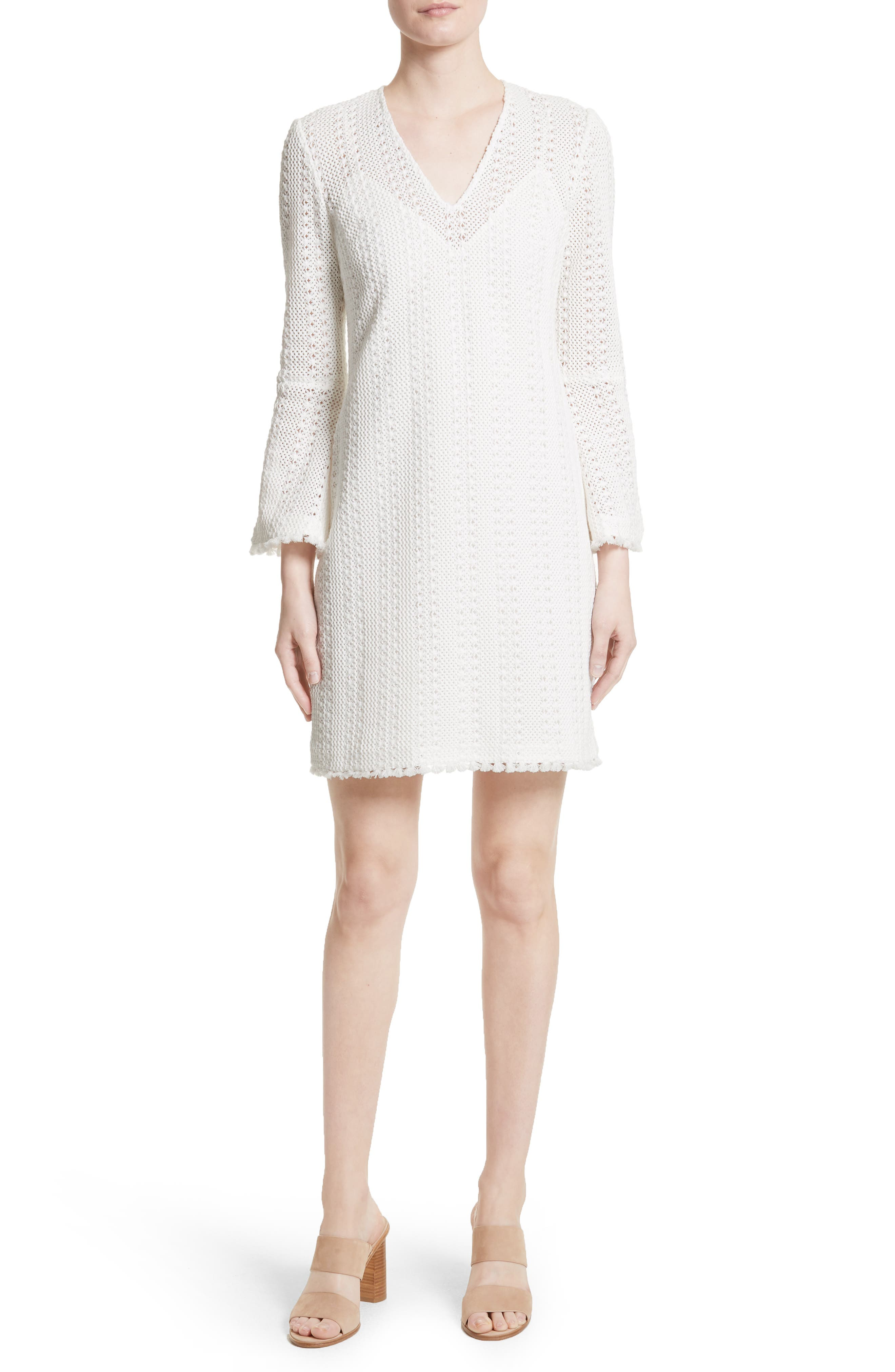Derek Lam 10 Crosby Bell Sleeve Crochet Shift Dress