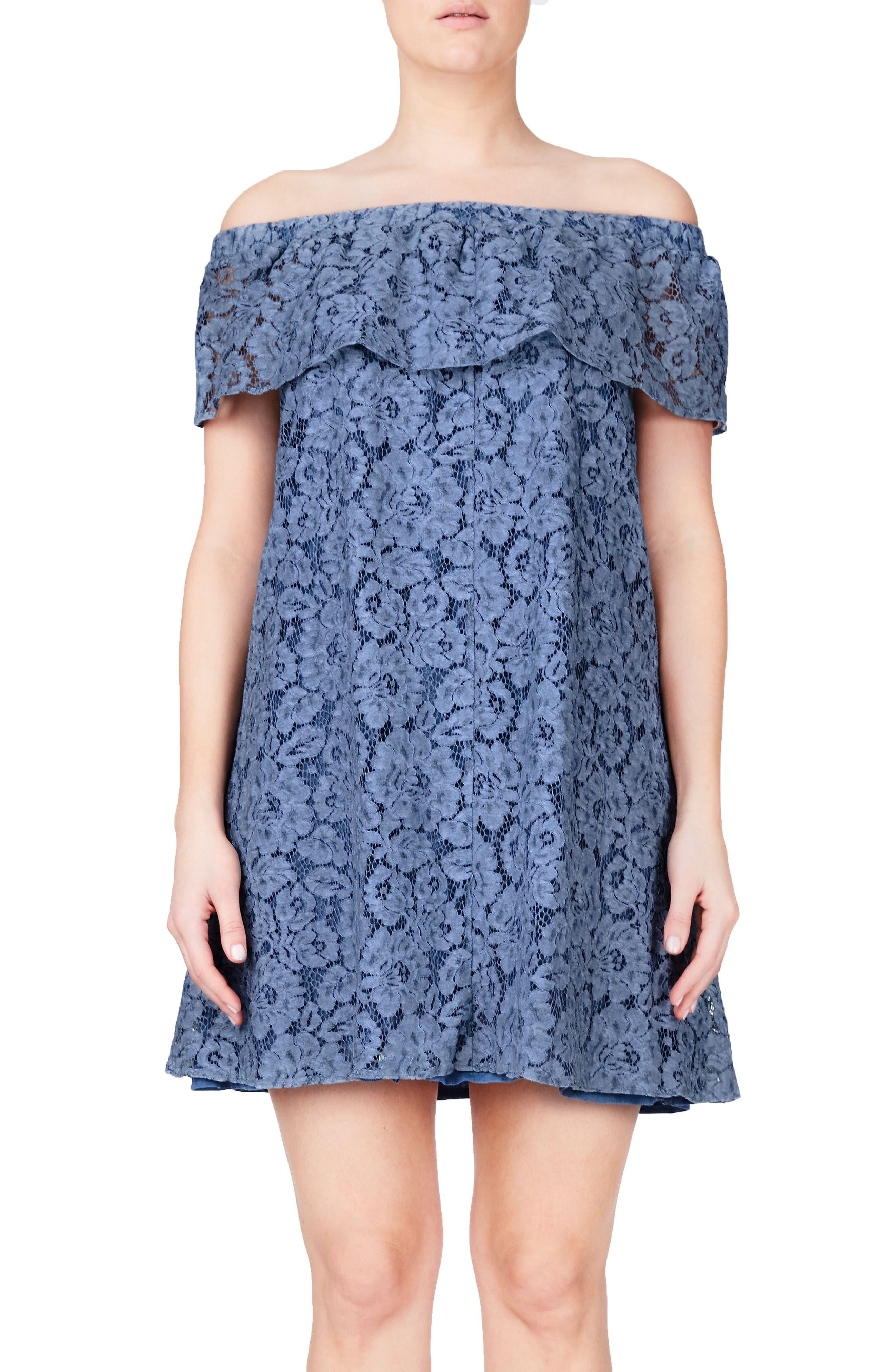 ELVI Bardot Lace Off the Shoulder A-Line Dress (Plus Size)