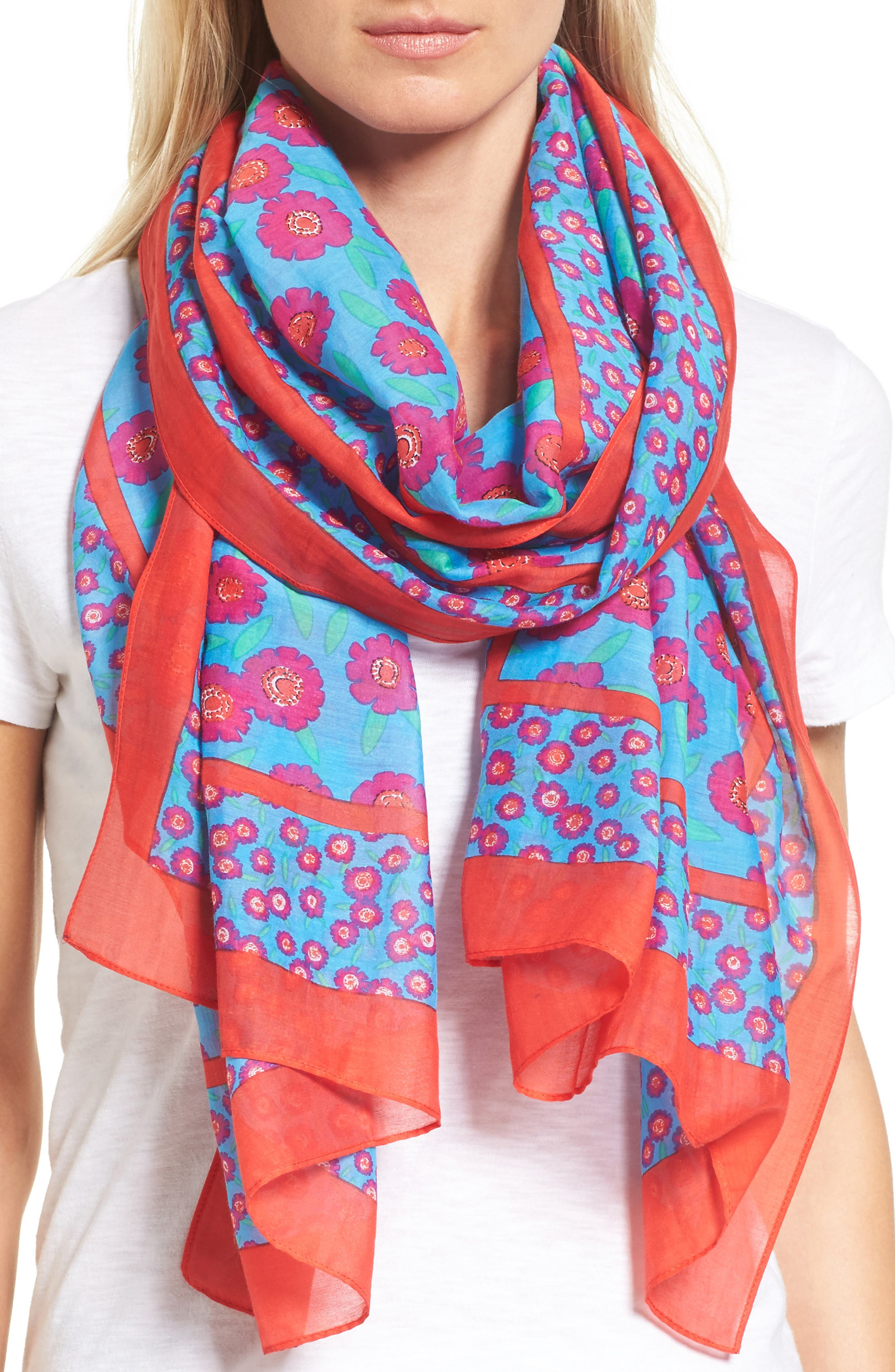 kate spade new york tangier floral cotton & silk oblong scarf