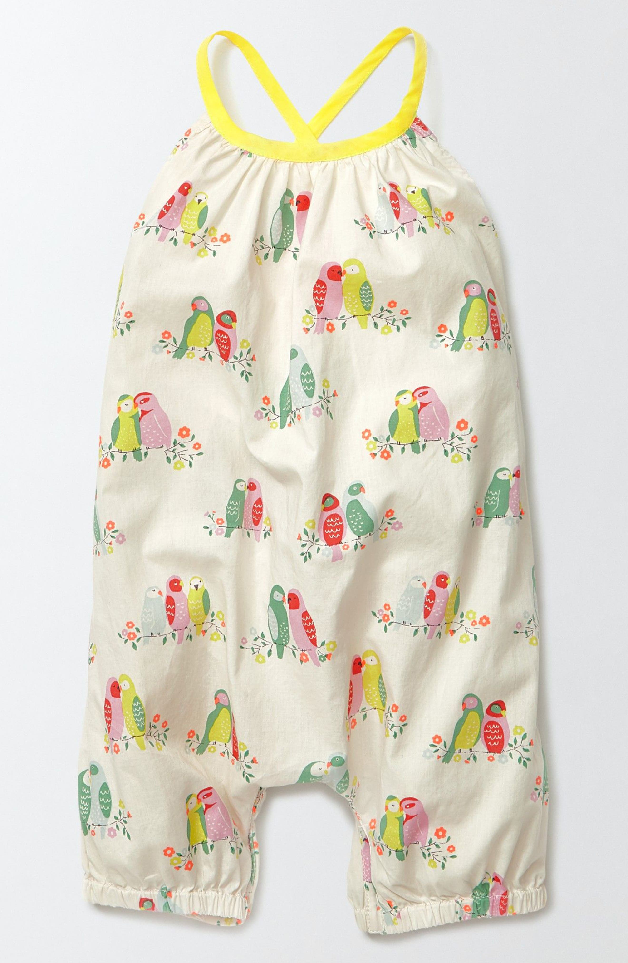 Mini Boden Summer Birds Romper (Baby Girls)
