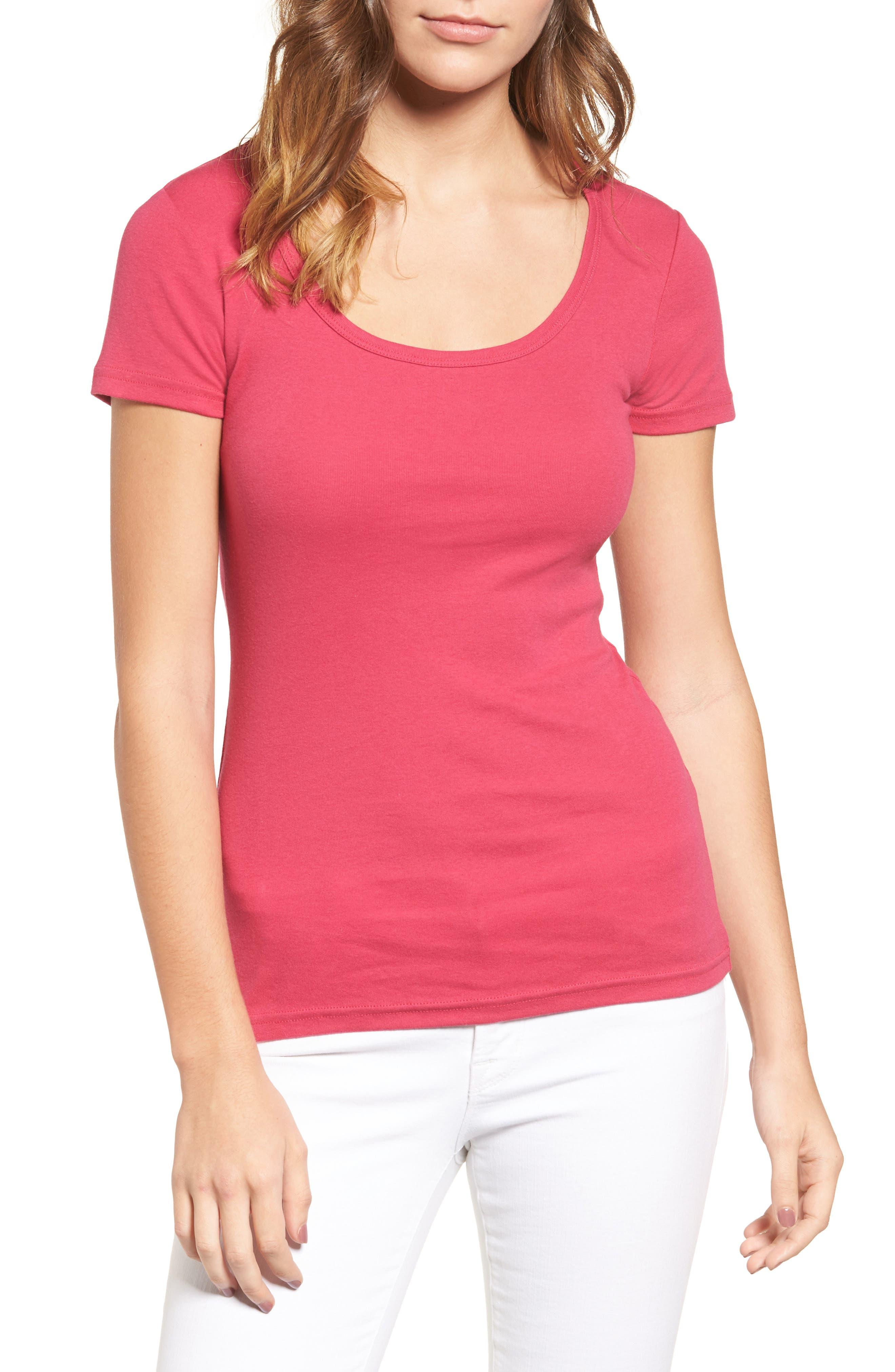 Caslon® Short Sleeve Scoop Neck Tee (Regular & Petite)