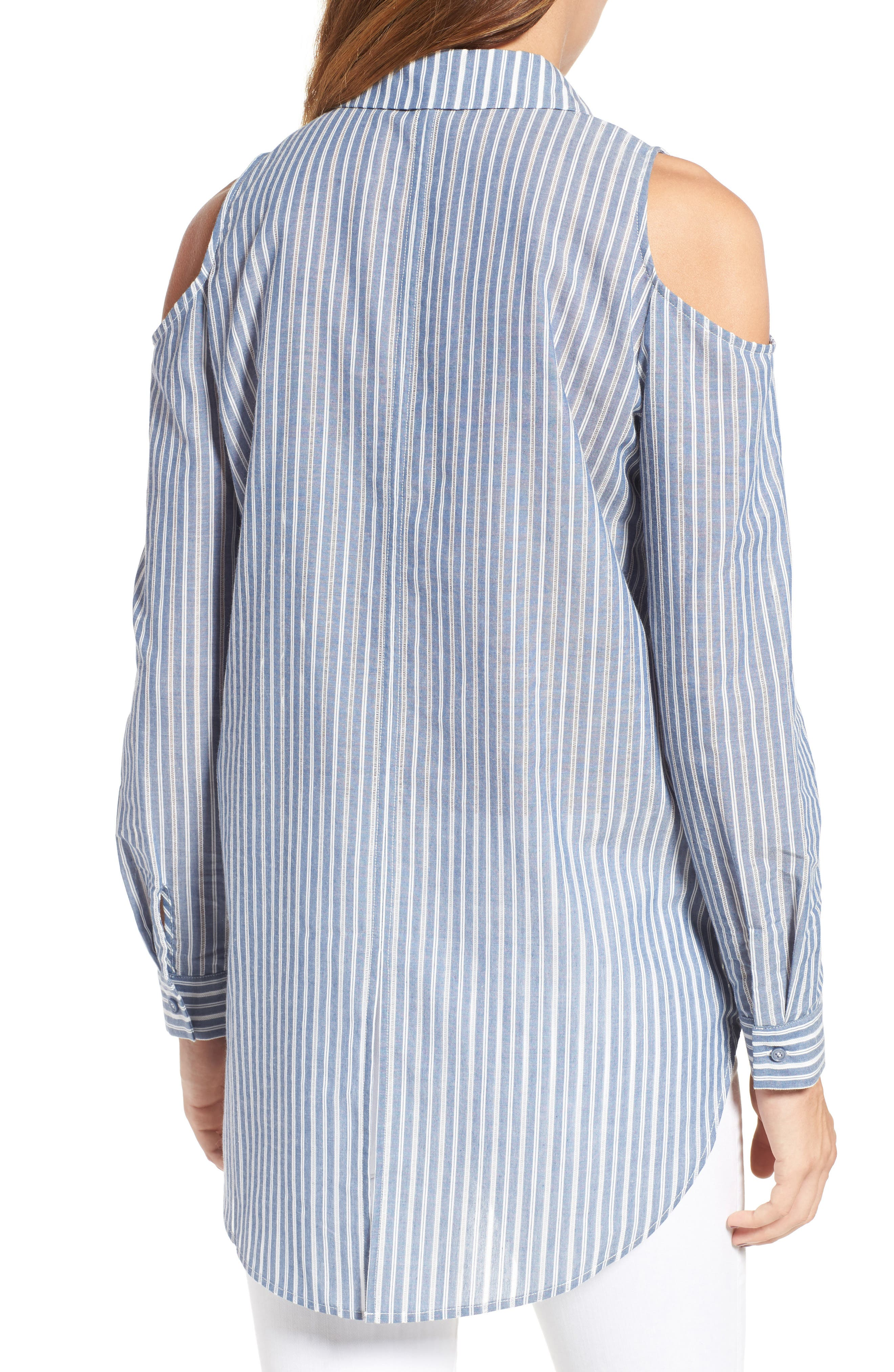 Alternate Image 2  - Pleione Cold Shoulder Stripe Jacquard Shirt (Regular & Petite)