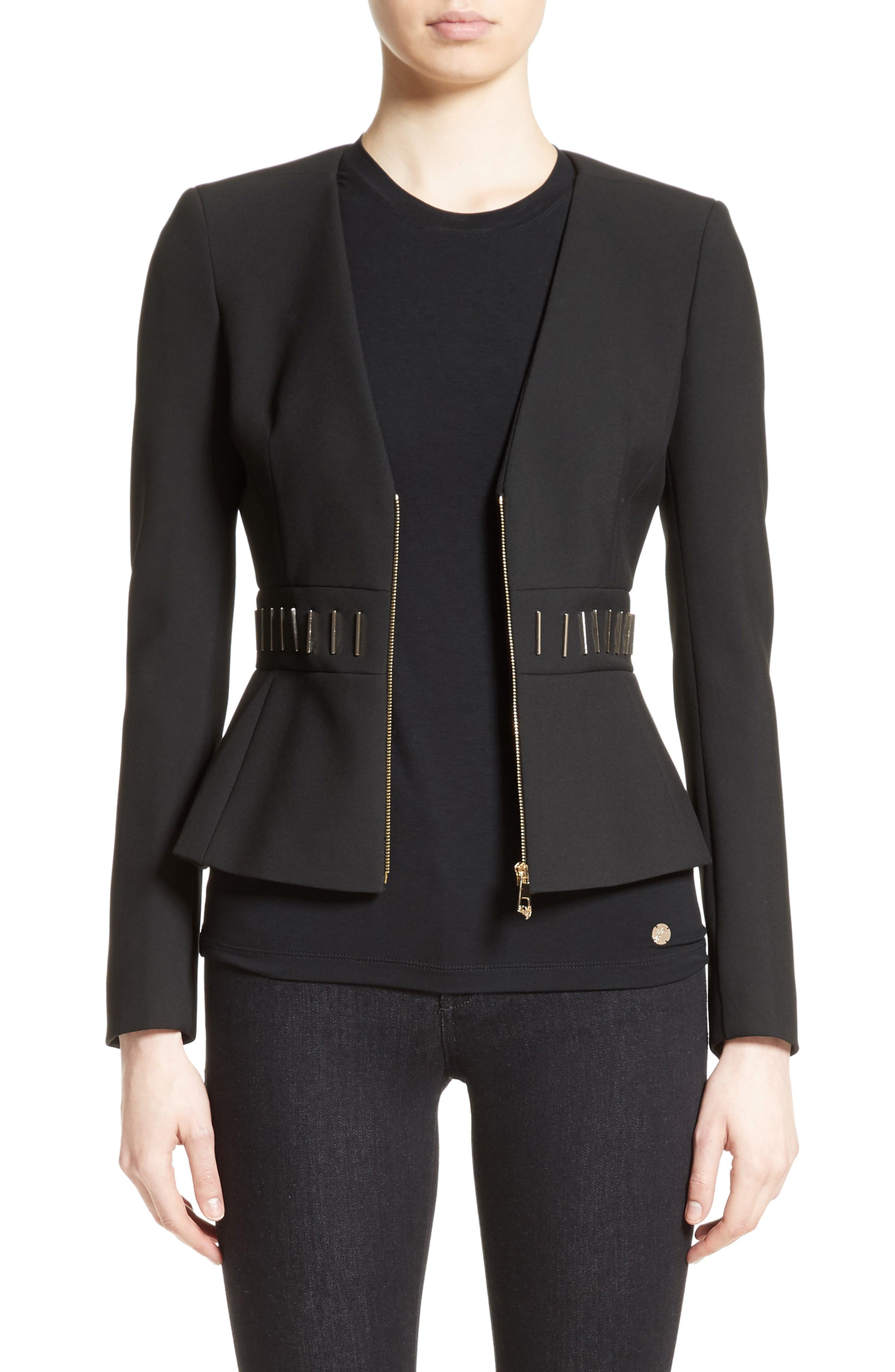 Main Image - Versace Collection Bar Detail Cady Jacket