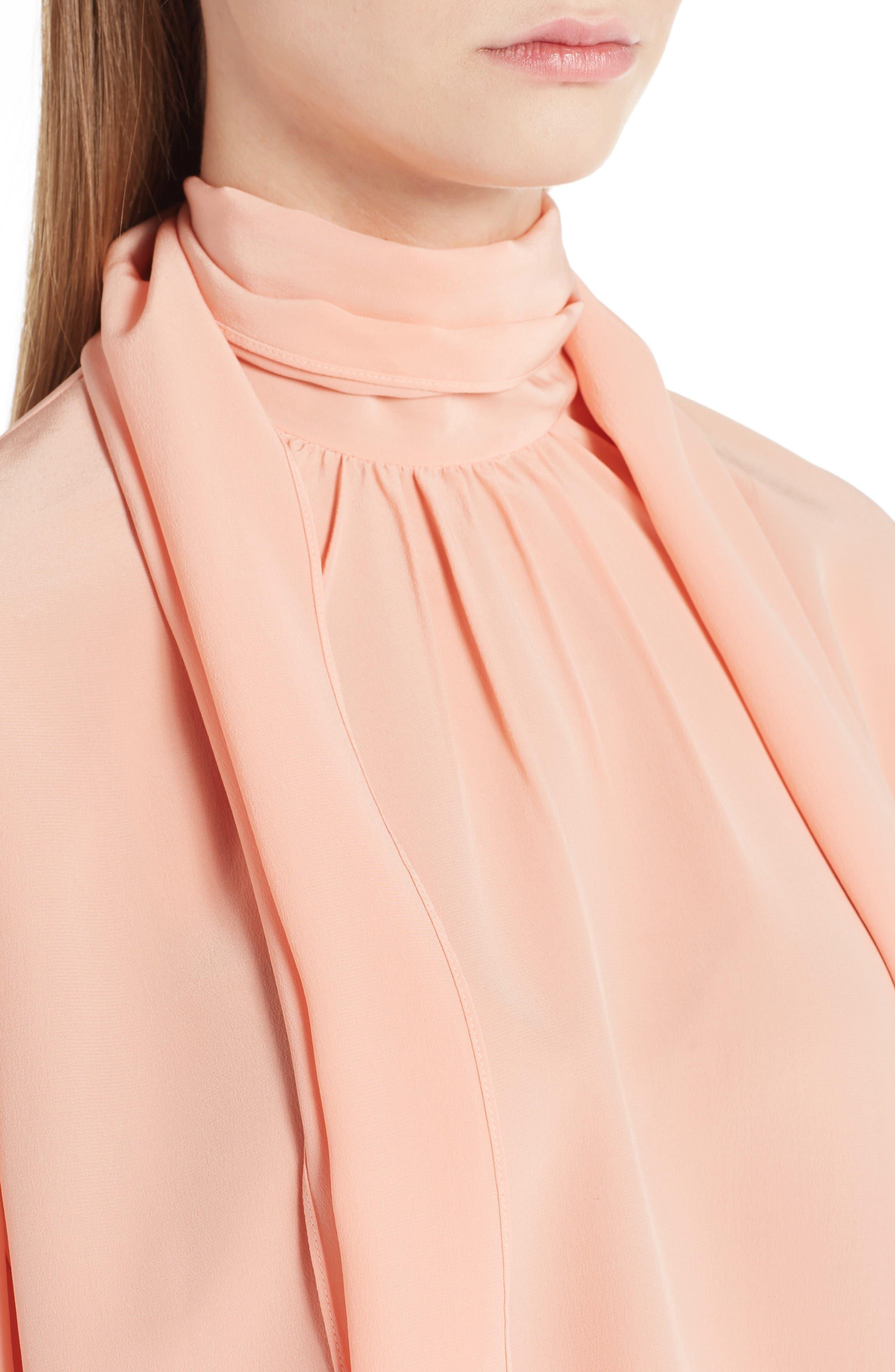 Alternate Image 5  - Fendi Silk Bell Sleeve Tie Neck Blouse