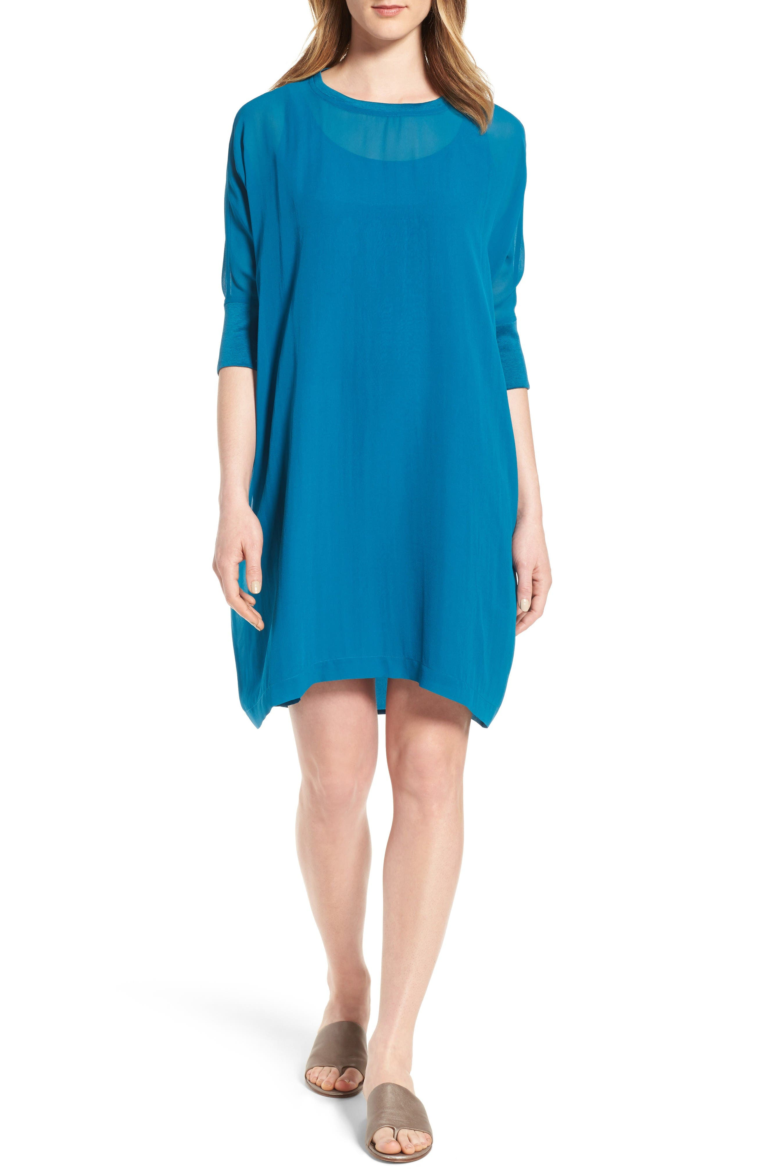 Eileen Fisher Dolman Sleeve Silk Shift Dress