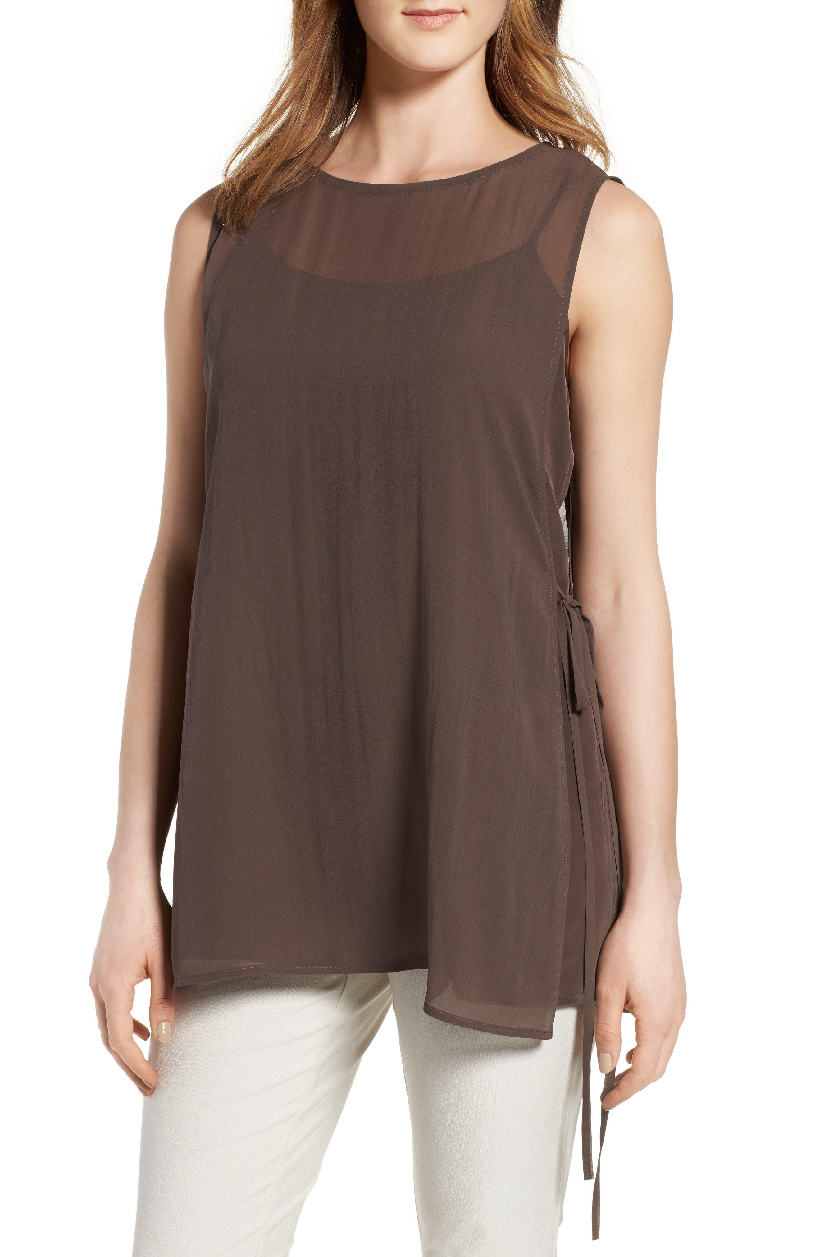 Eileen Fisher Sheer Overlay Silk Top