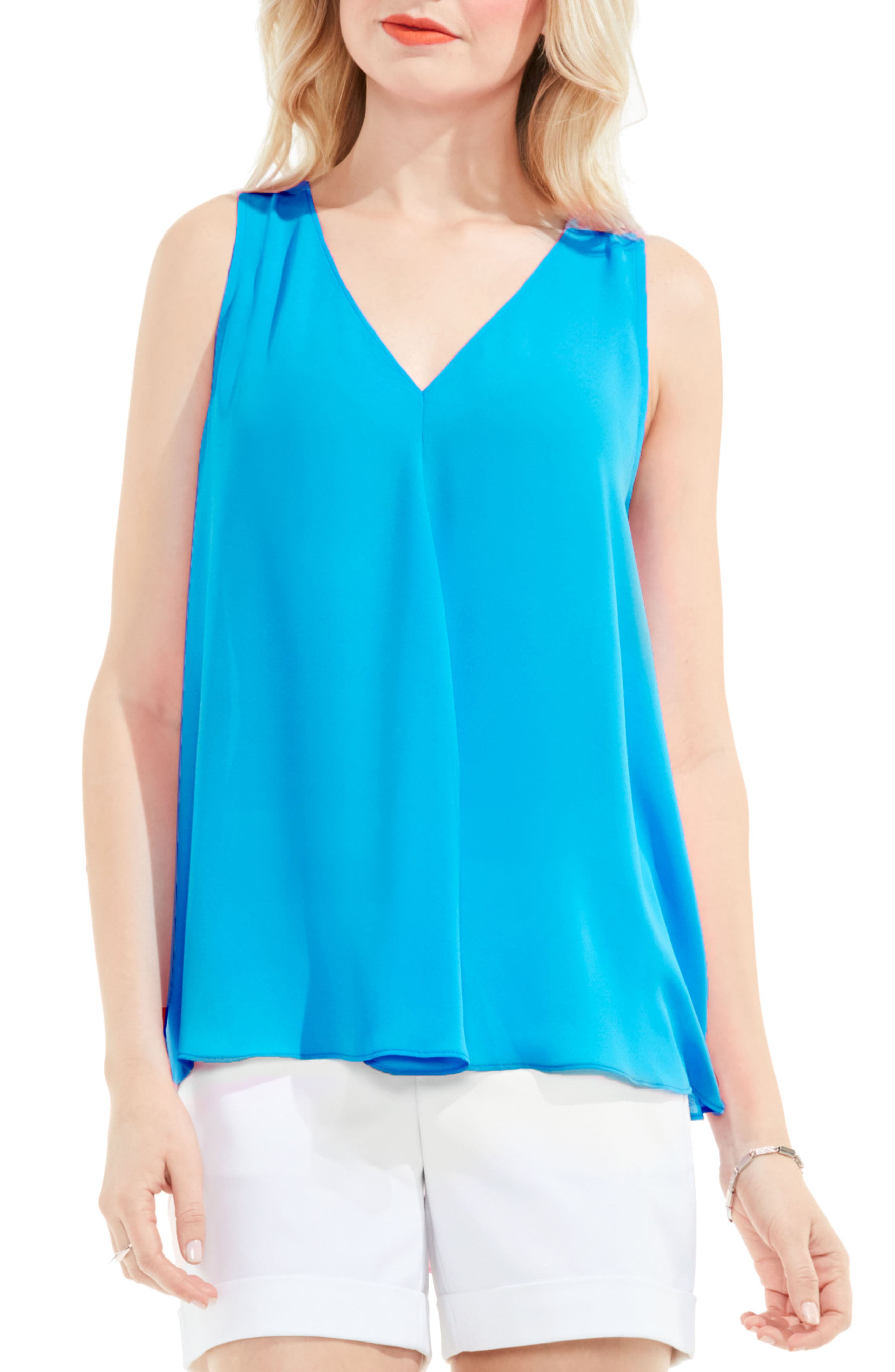 Main Image - Vince Camuto Pleat Front A-Line Blouse (Regular & Petite)