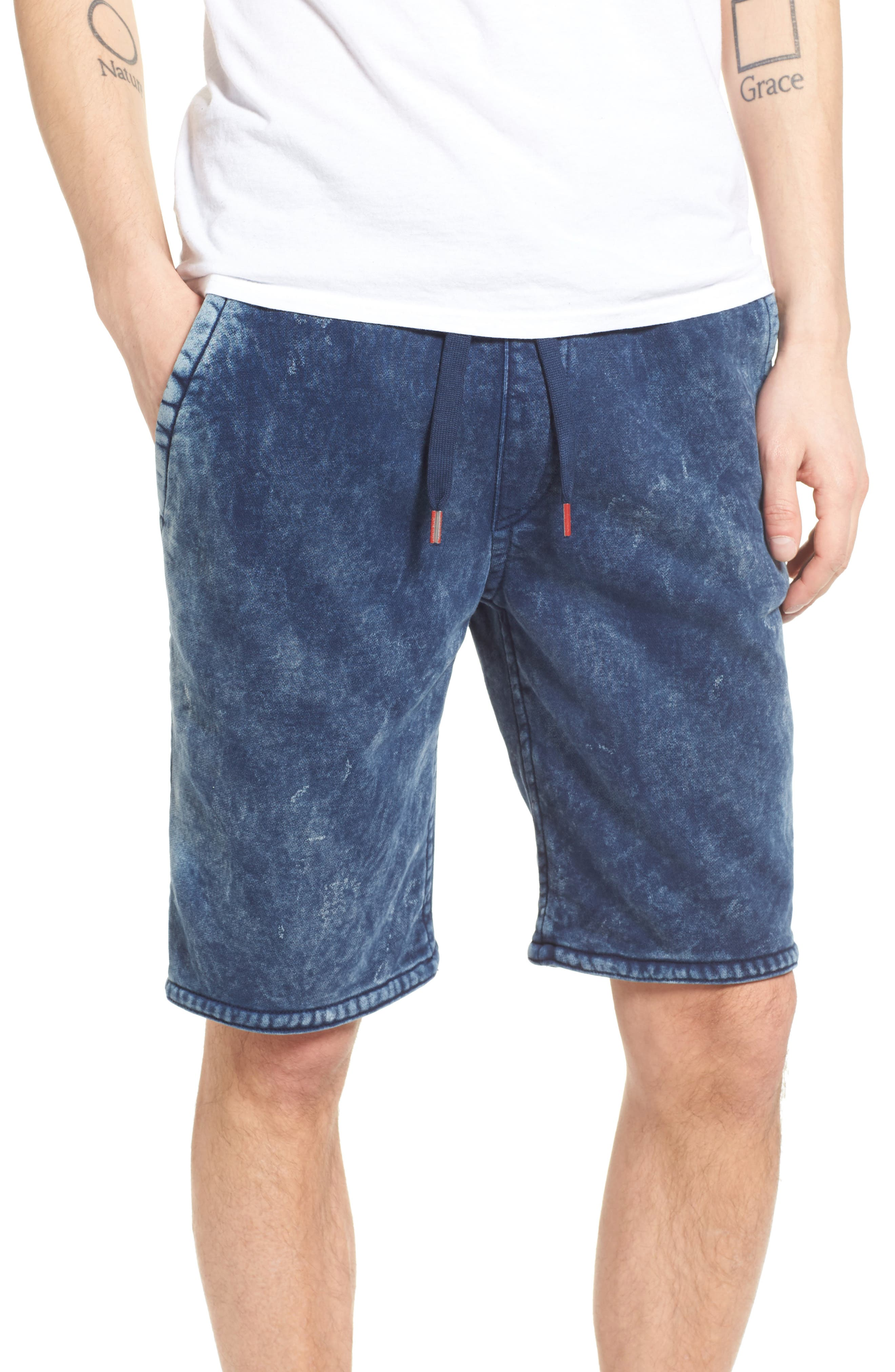 True Religion Brand Jeans Decayed Terry Knit Sweat Shorts