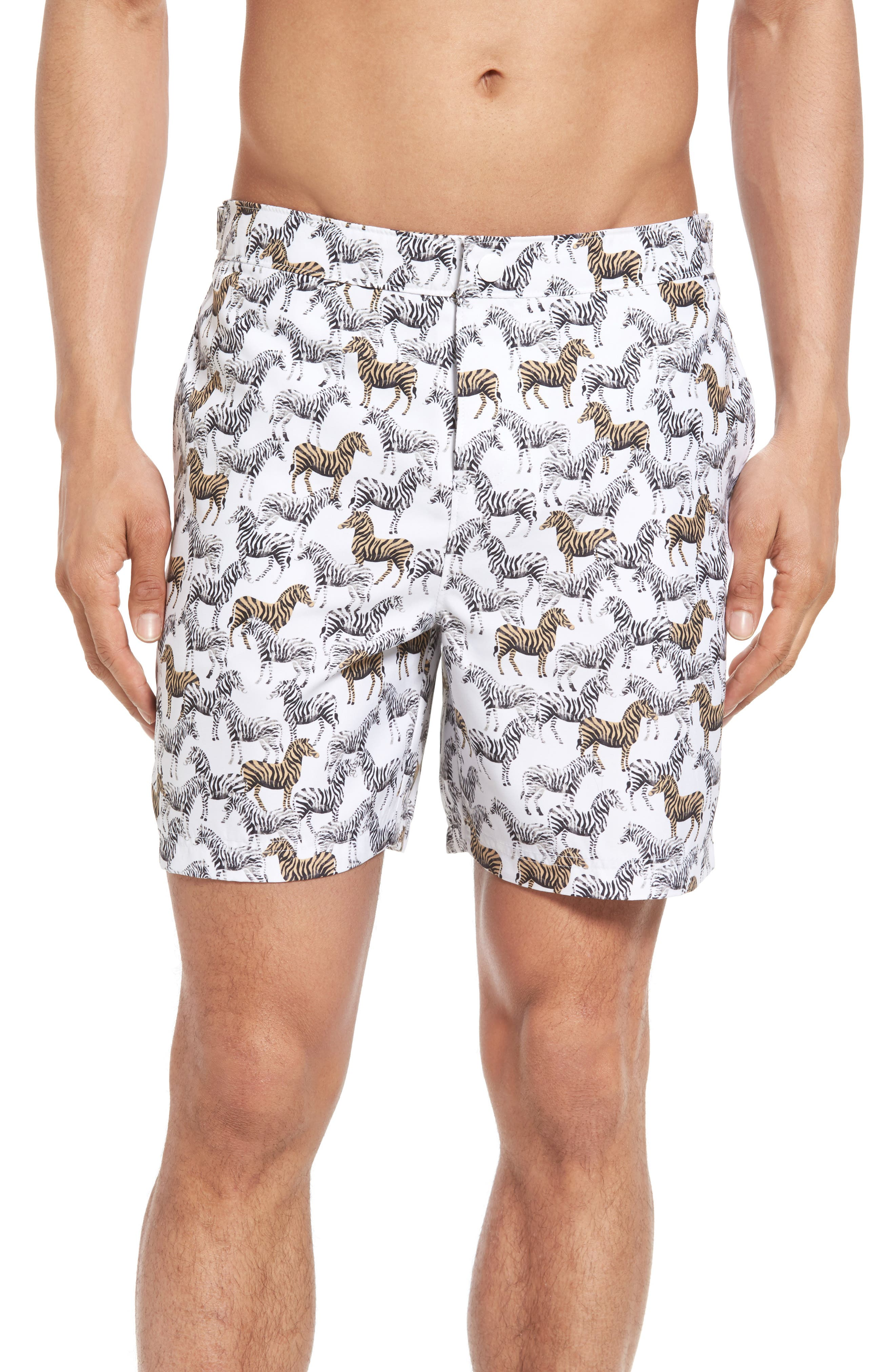 Original Penguin Zebra Fixed Volley Swim Trunks