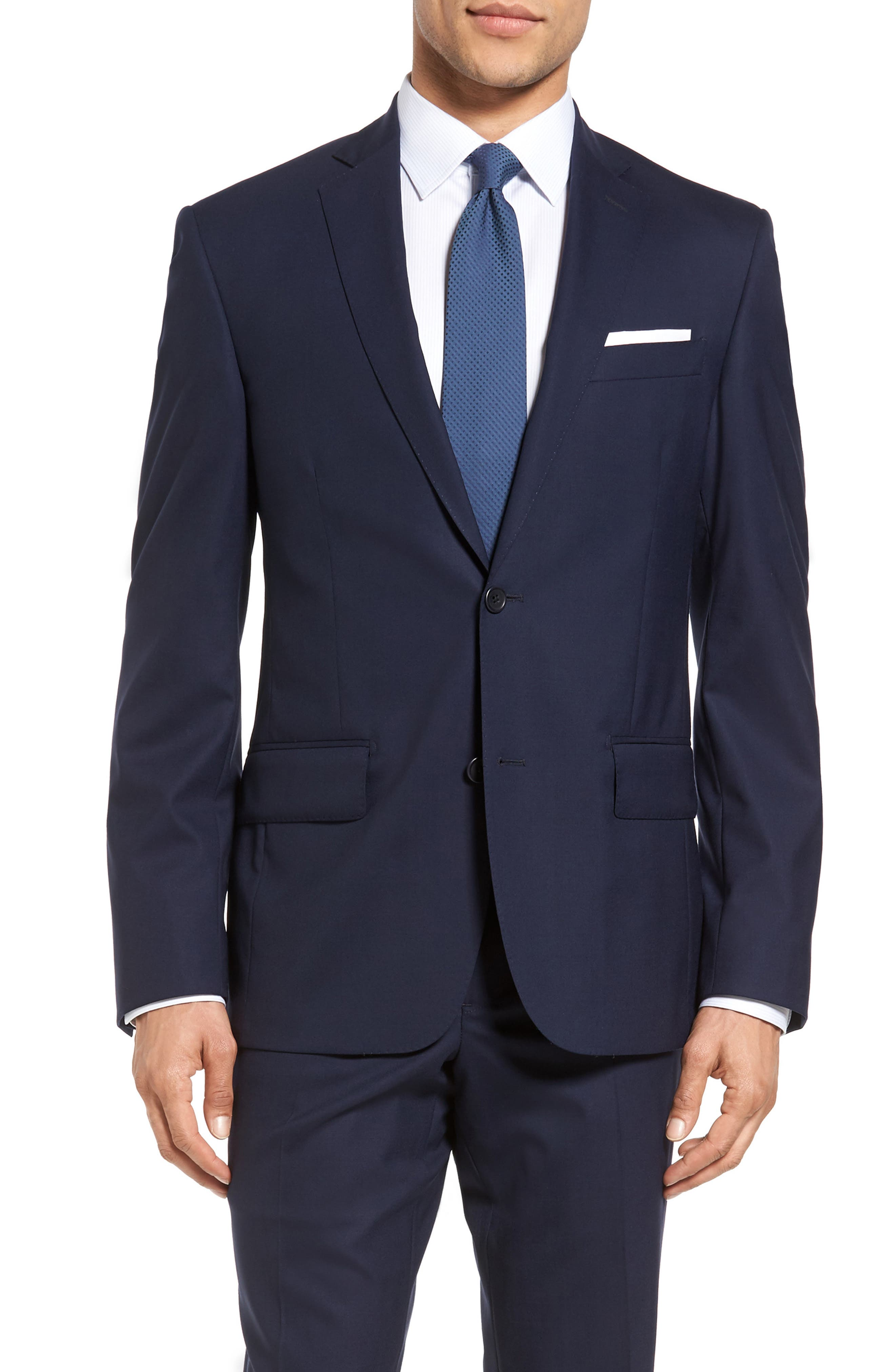 Nordstrom Men's Shop Trim Fit Solid Stretch Wool Travel Suit