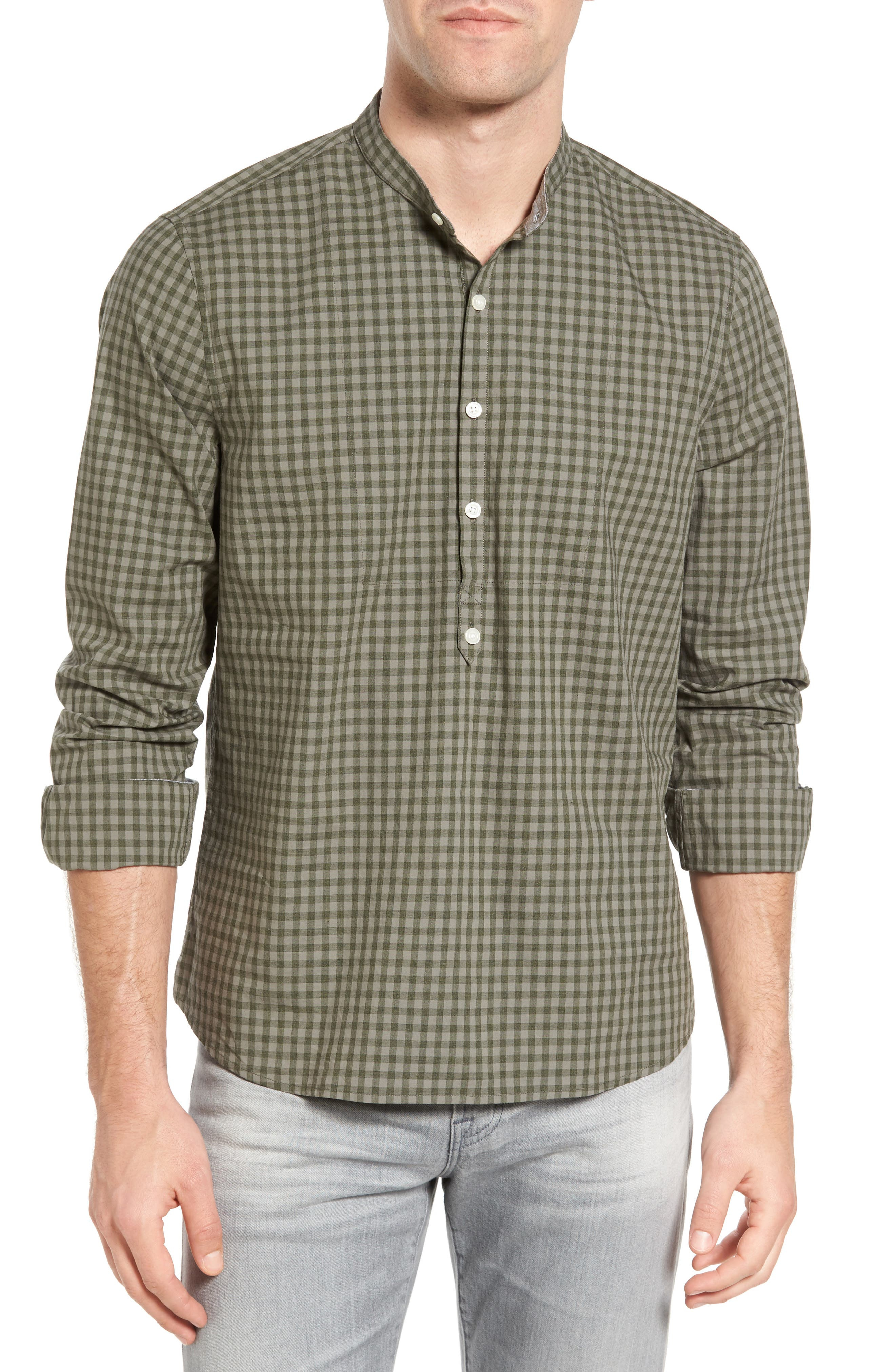 Michael Bastian Gingham Band Collar Sport Shirt