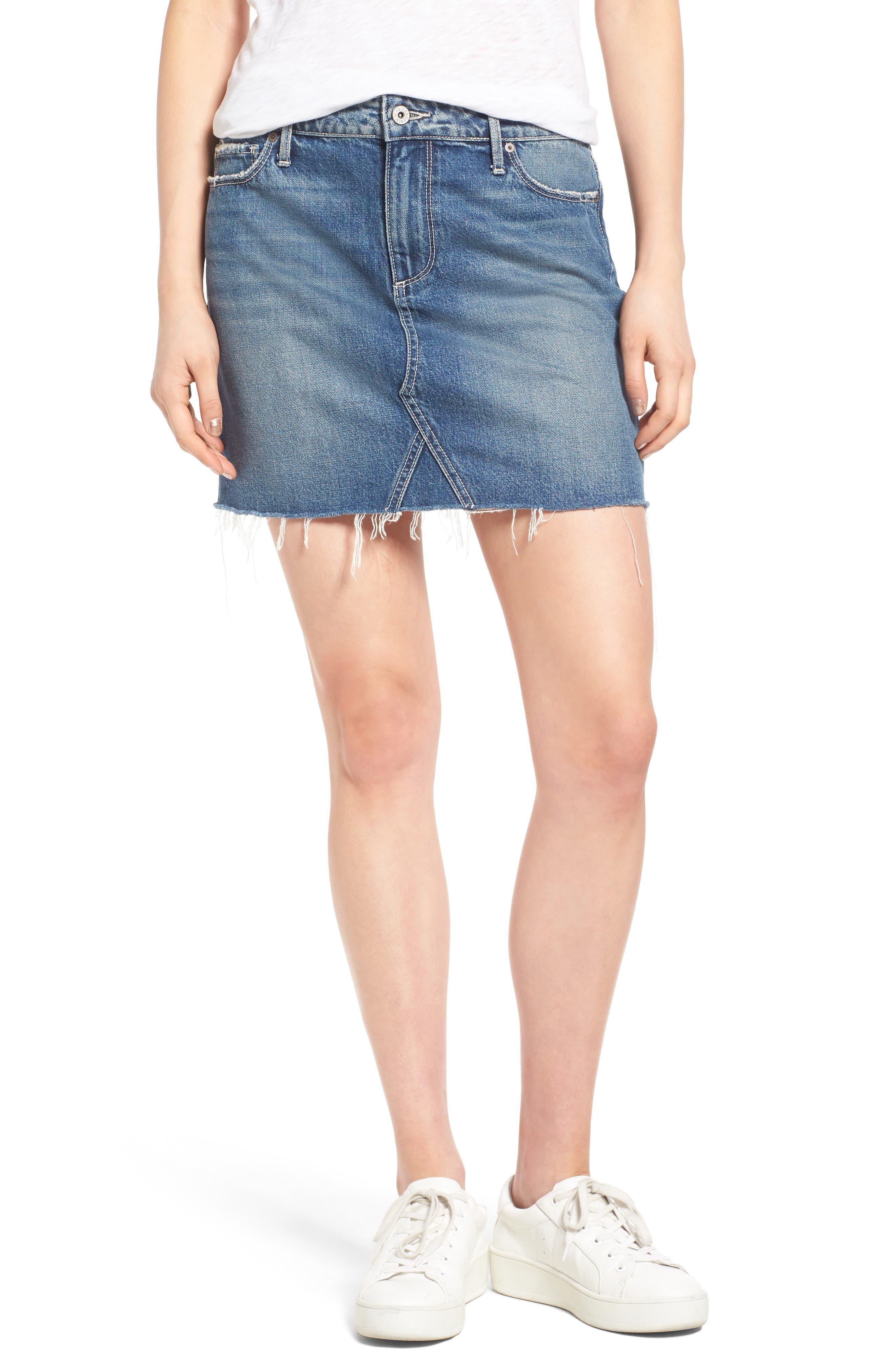 Alternate Image 1 Selected - PAIGE Alethea Cutoff Denim Miniskirt