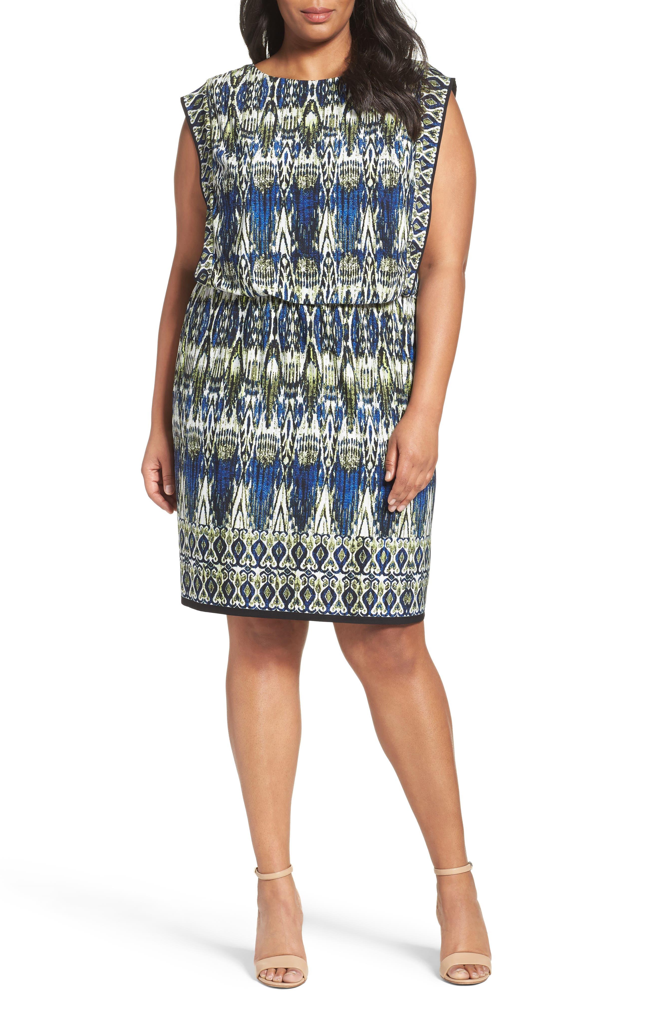 London Times Print Jersey Blouson Dress (Plus Size)