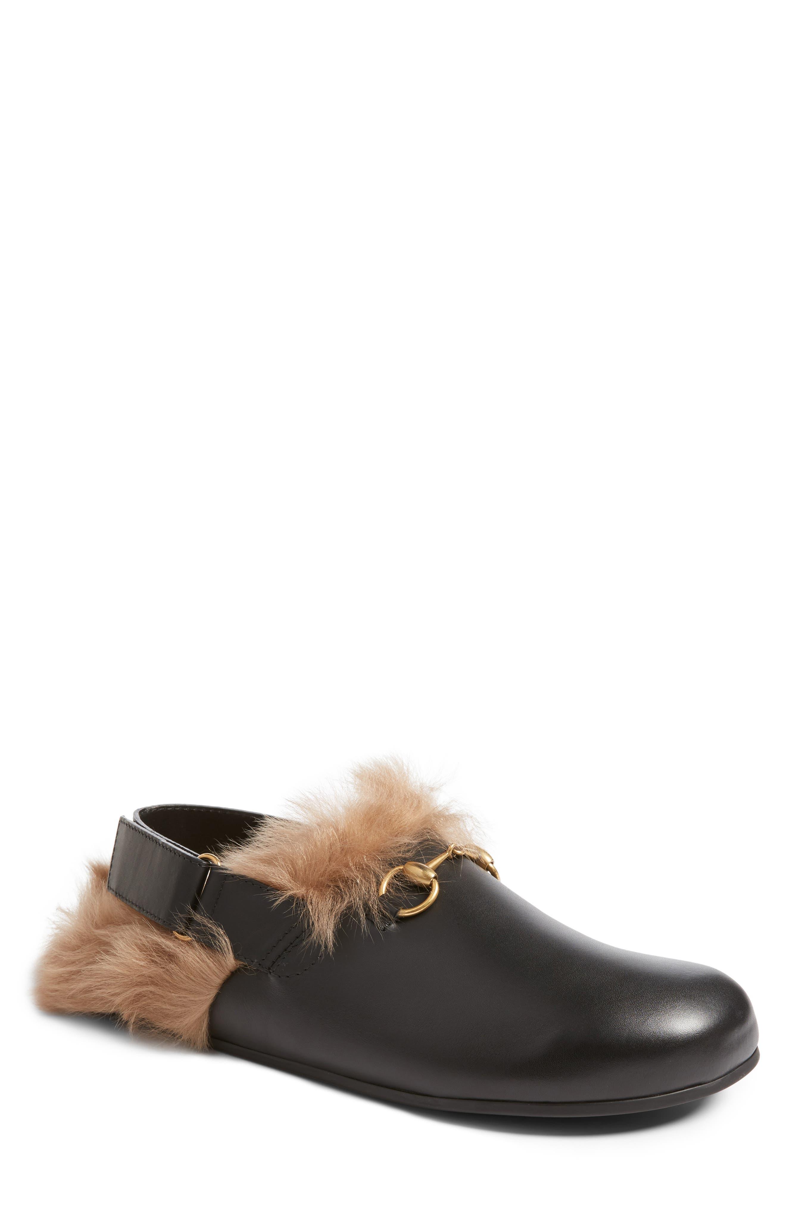 Gucci River Sling Genuine Shearling Slide Slipper (Men)