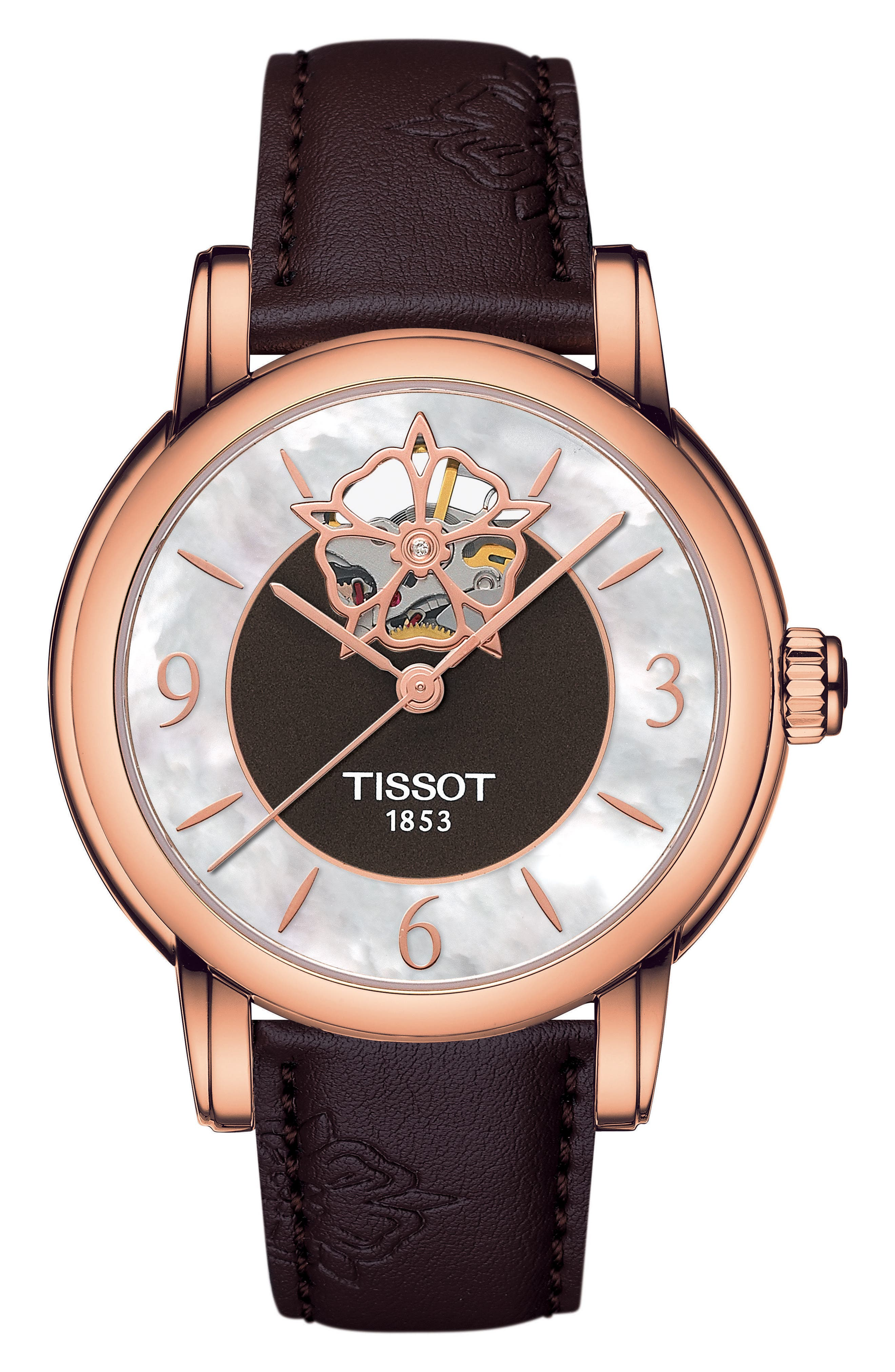 Alternate Image 1 Selected - Tissot Lady Heart Leather Strap Watch, 35mm