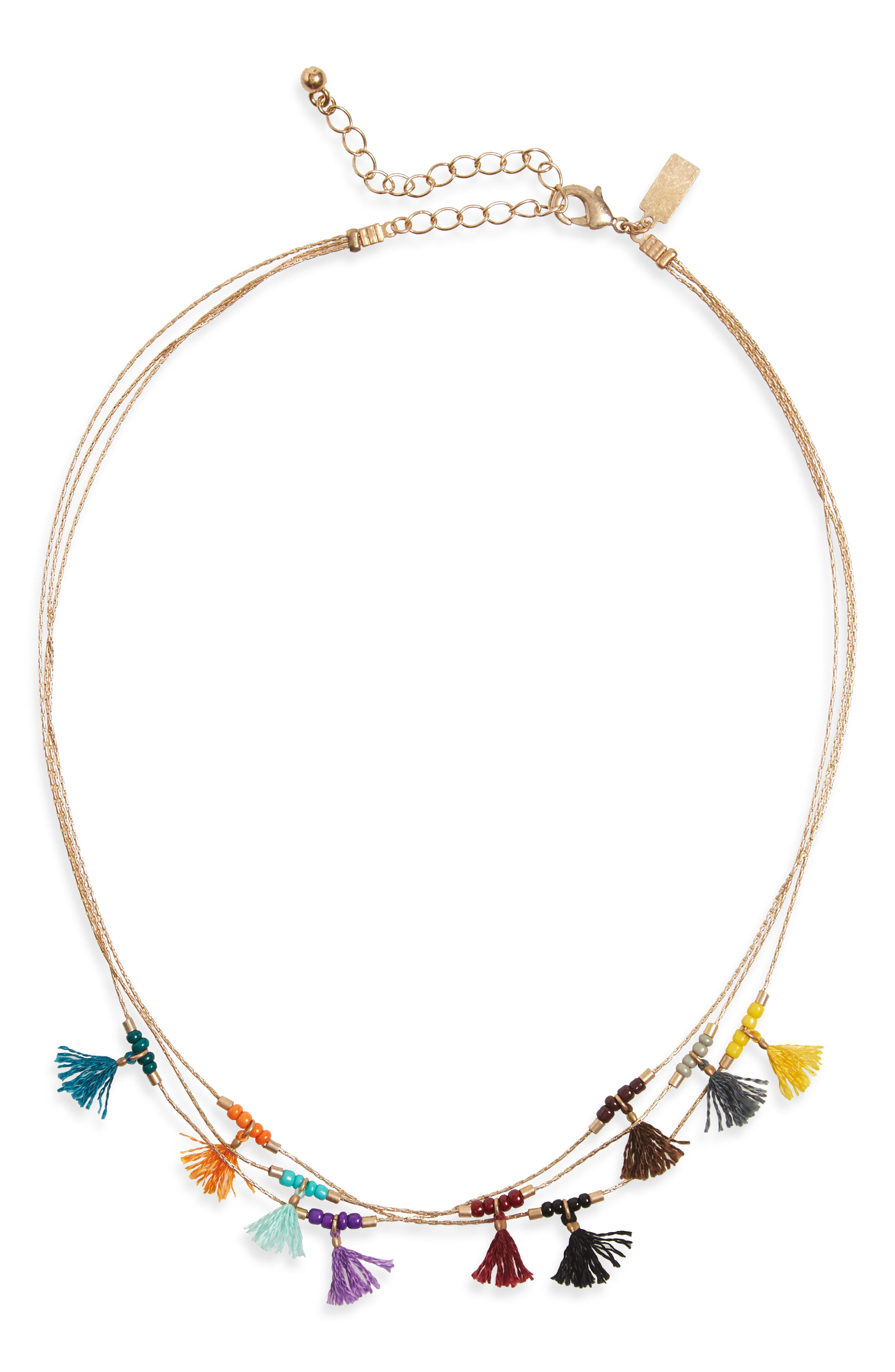Canvas Jewelry Multistrand Tassel Necklace