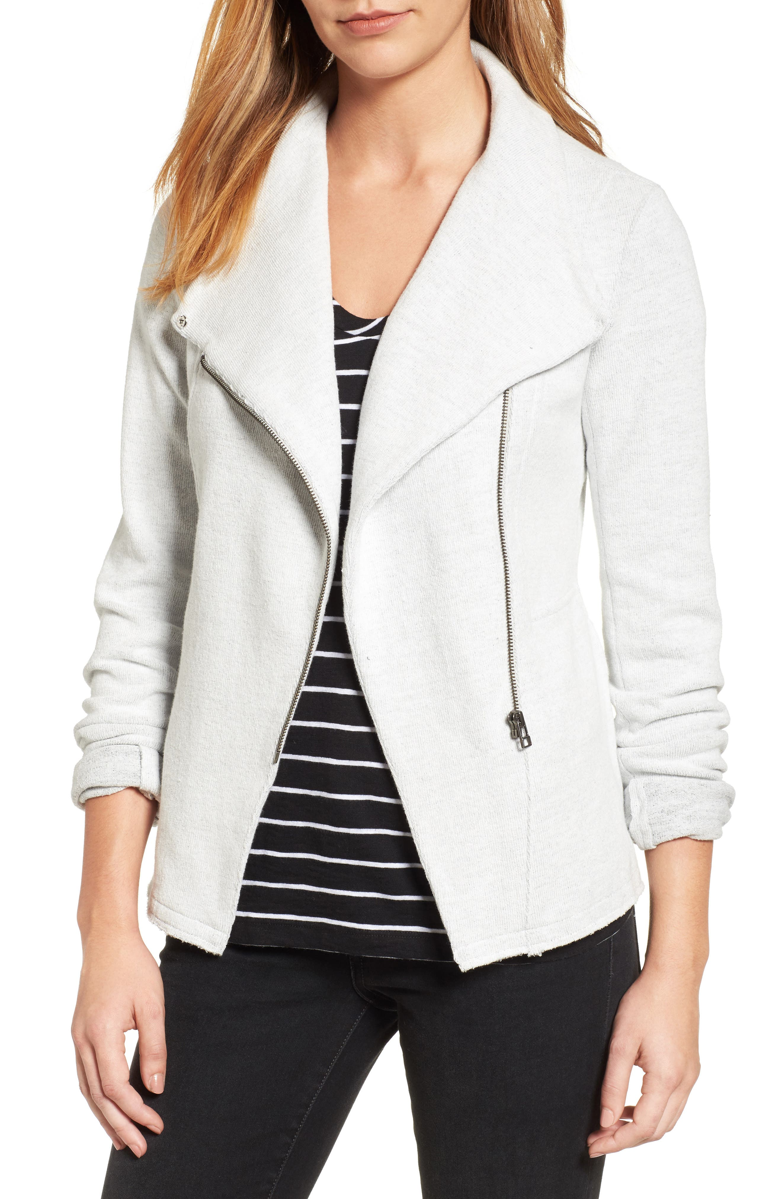 Caslon® Knit Moto Jacket (Regular & Petite)