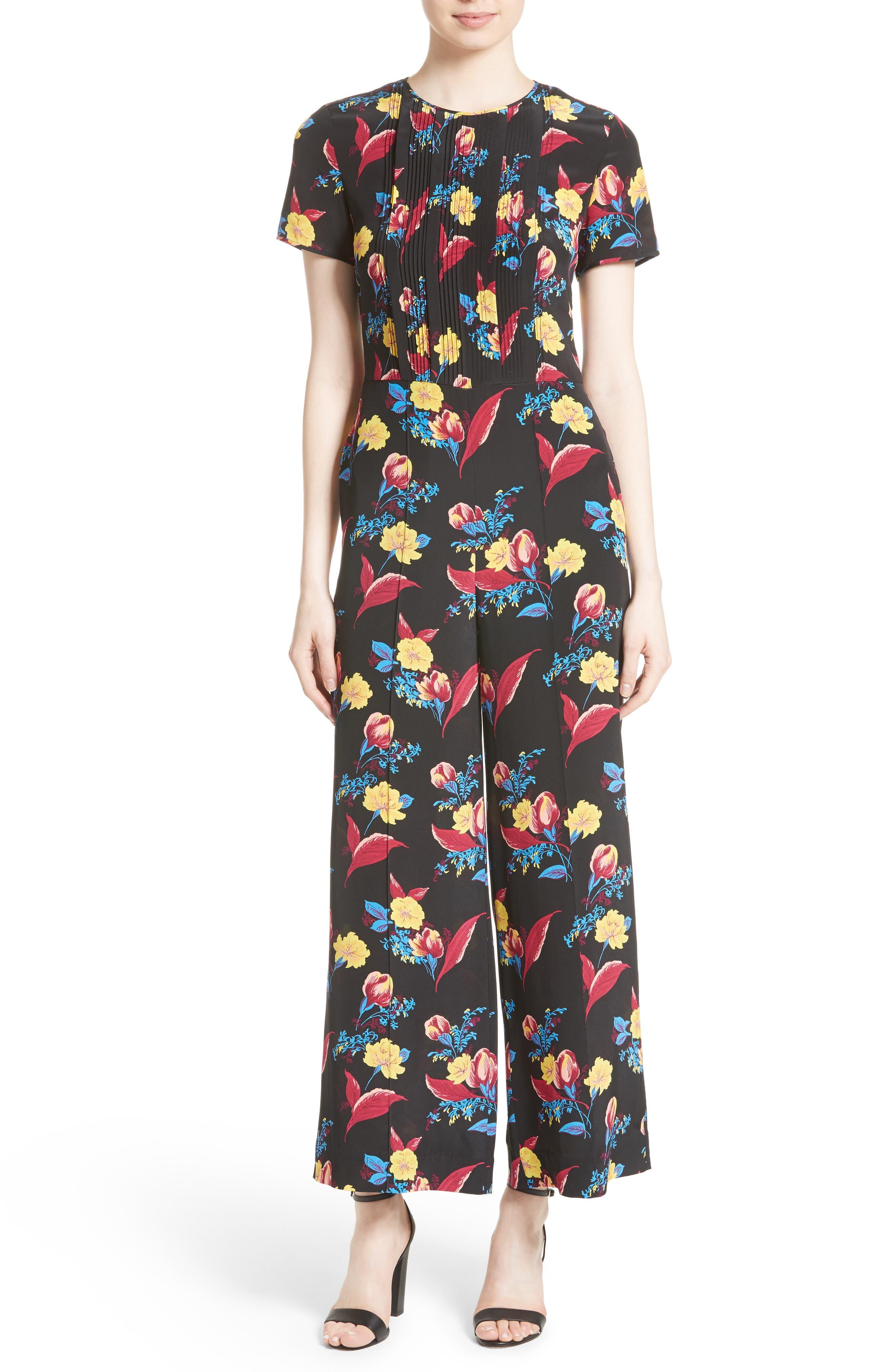 Main Image - Diane von Furstenberg Floral Crop Silk Jumpsuit