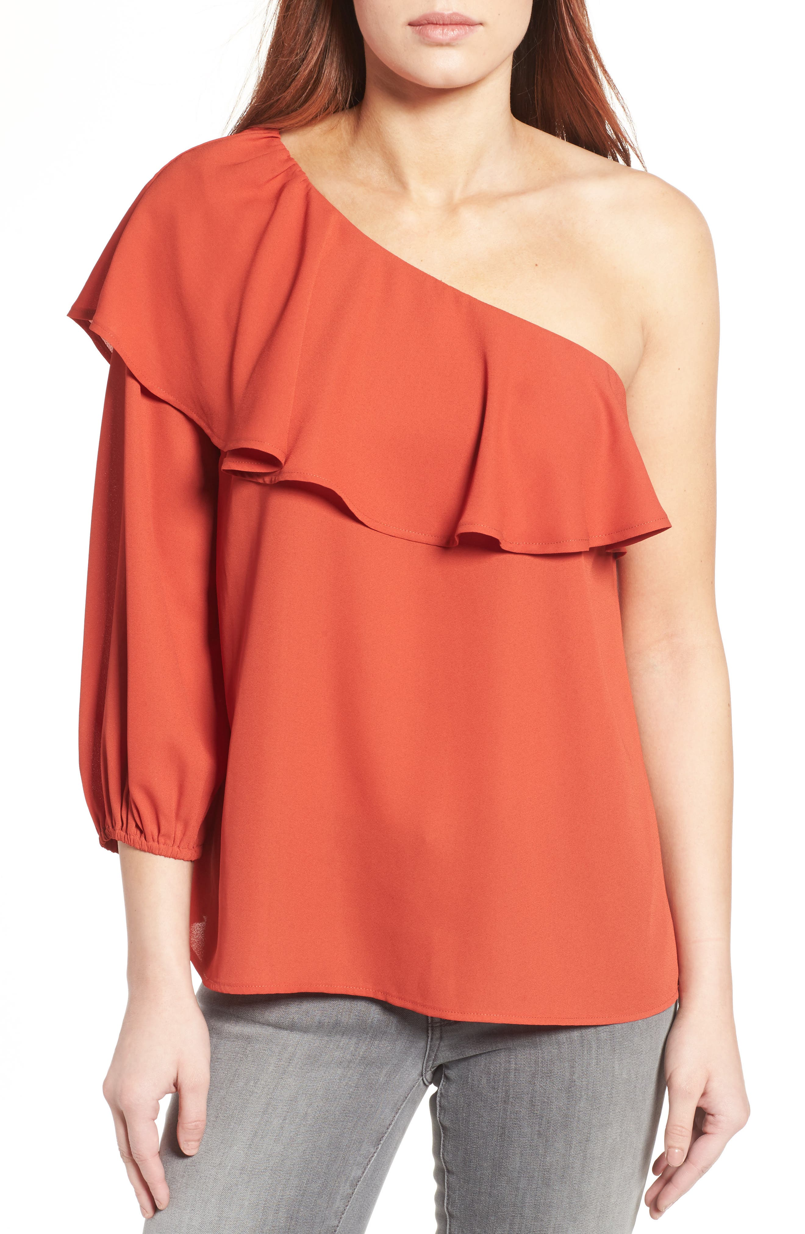 Halogen® One-Shoulder Ruffle Blouse