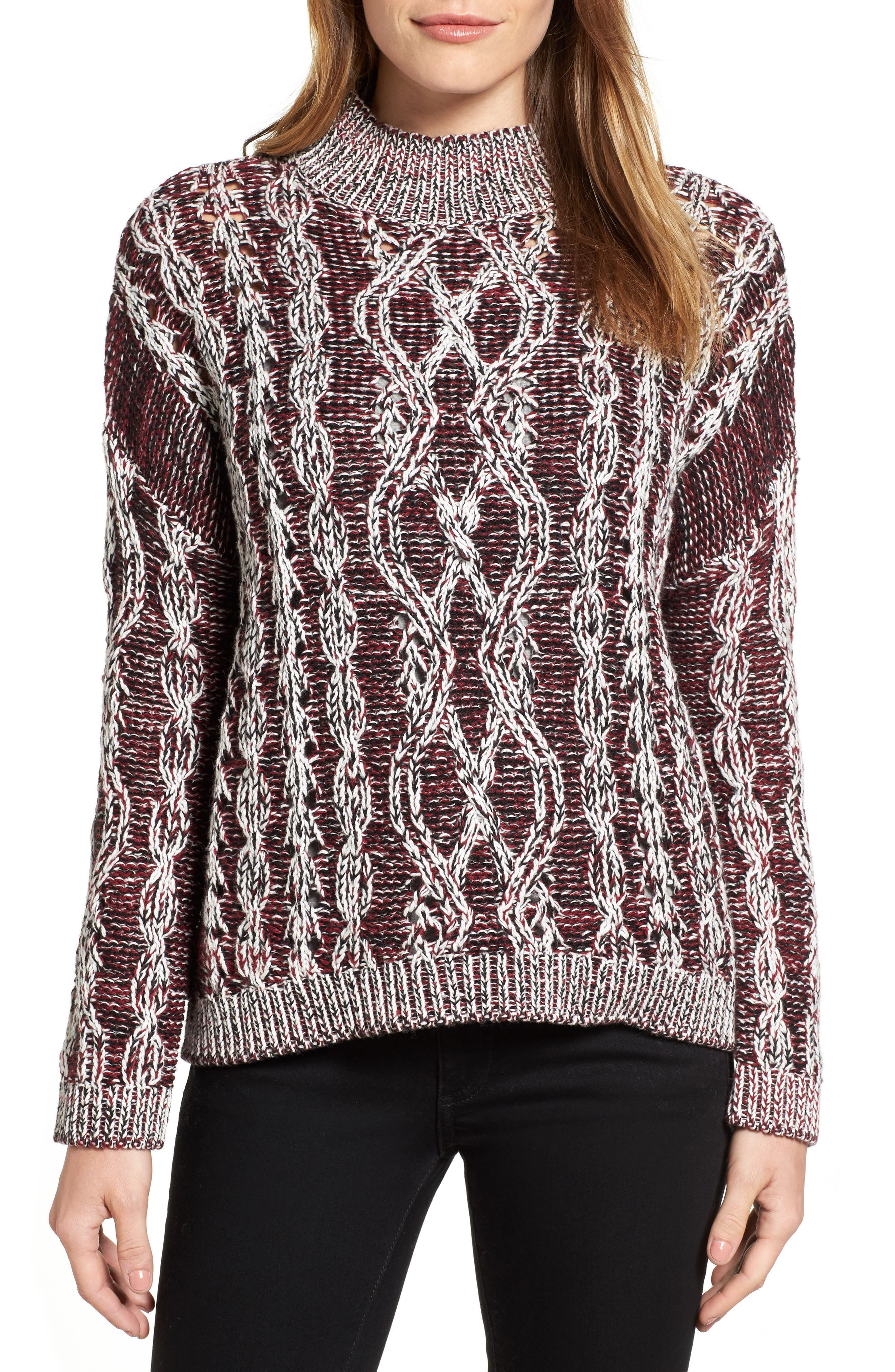 Caslon® Marled Cable Pullover