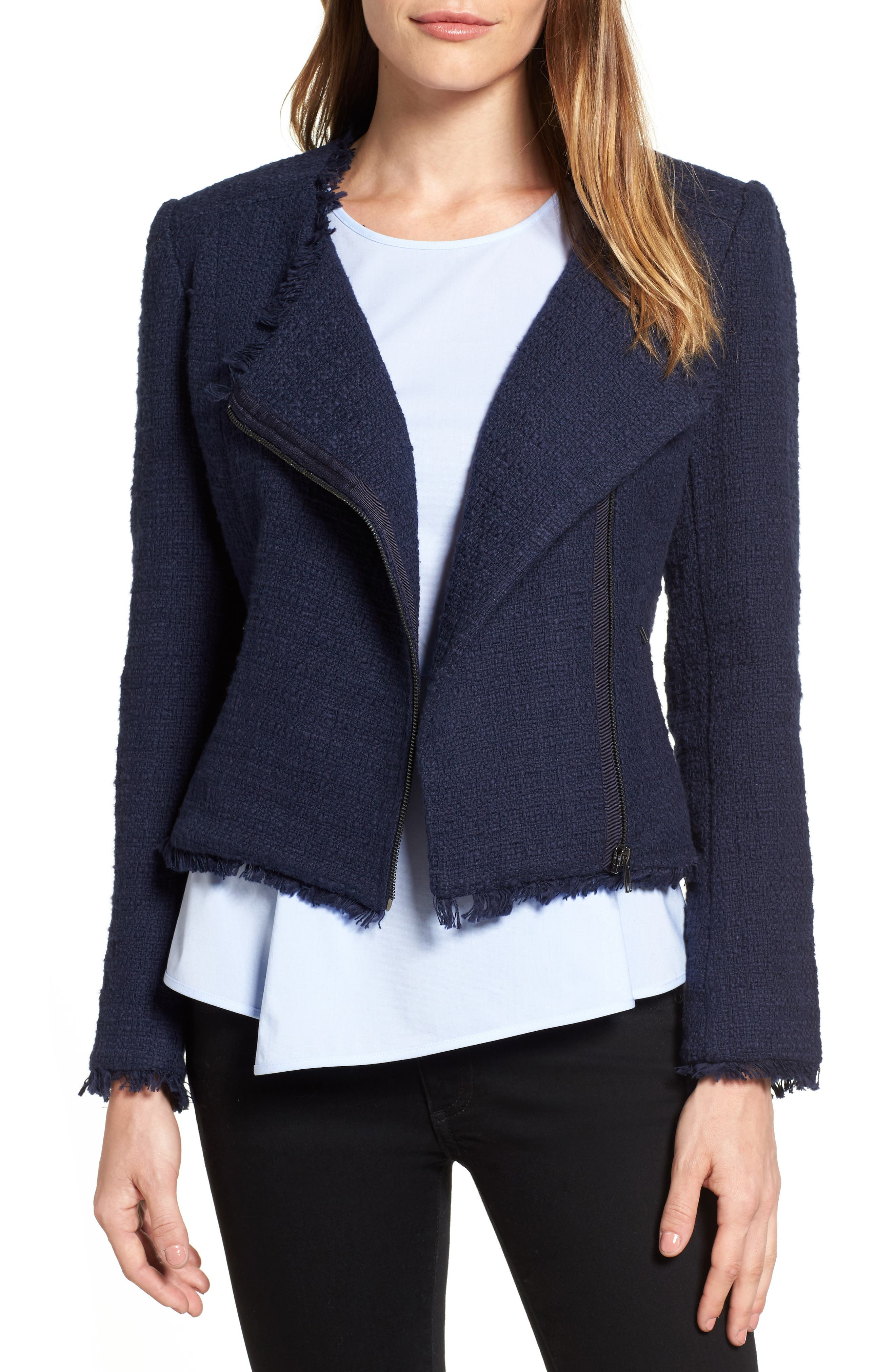 Halogen® Asymmetrical Zip Tweed Jacket (Regular & Petite)