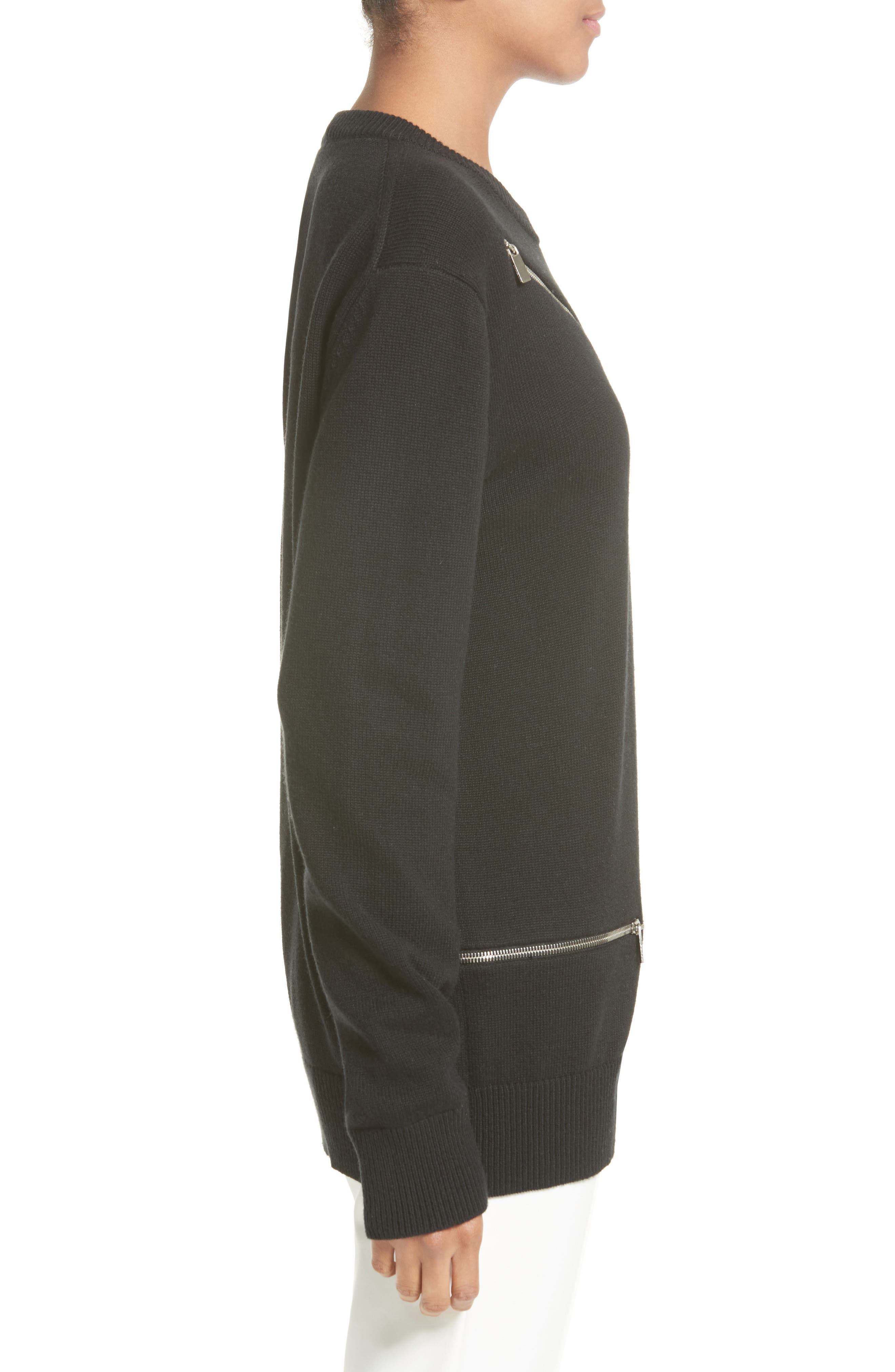 Alternate Image 5  - Michael Kors Zip Detail Cashmere & Cotton Sweater