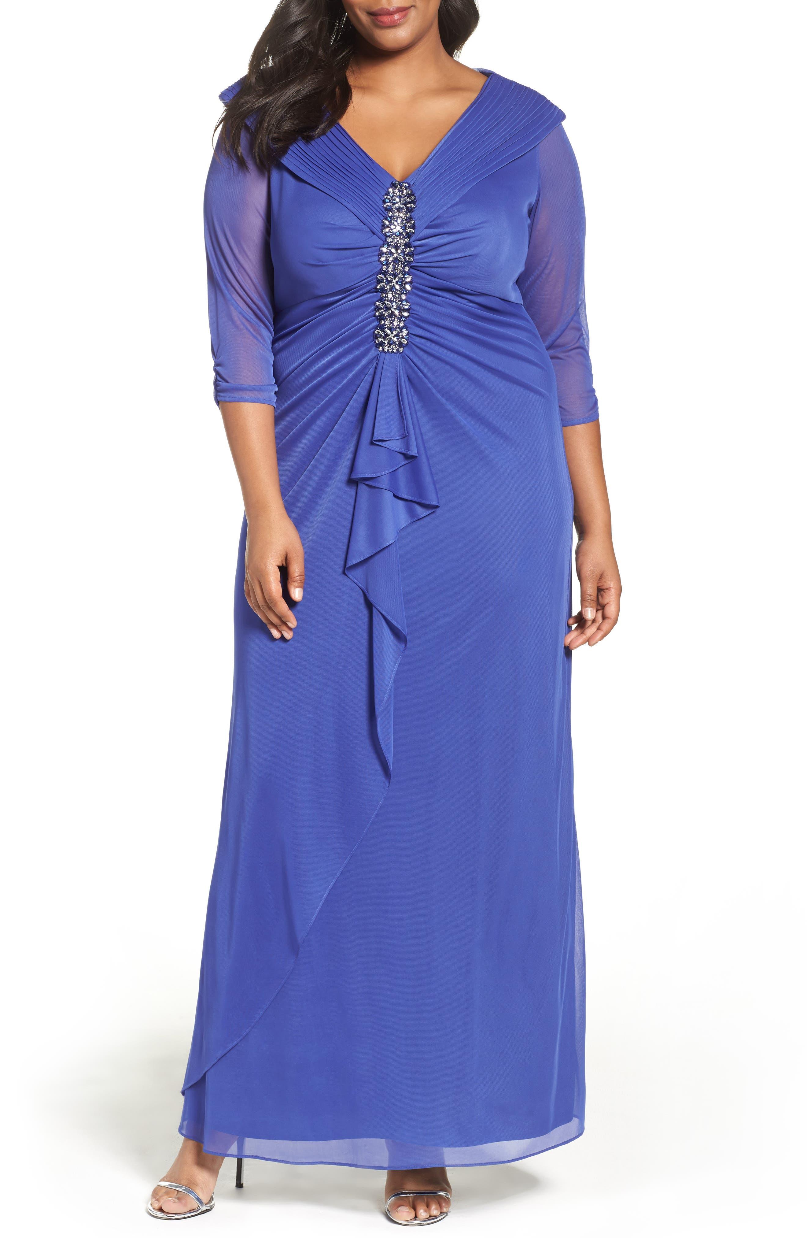 Alex Evenings Embellished Portrait Collar Gown (Plus Size)