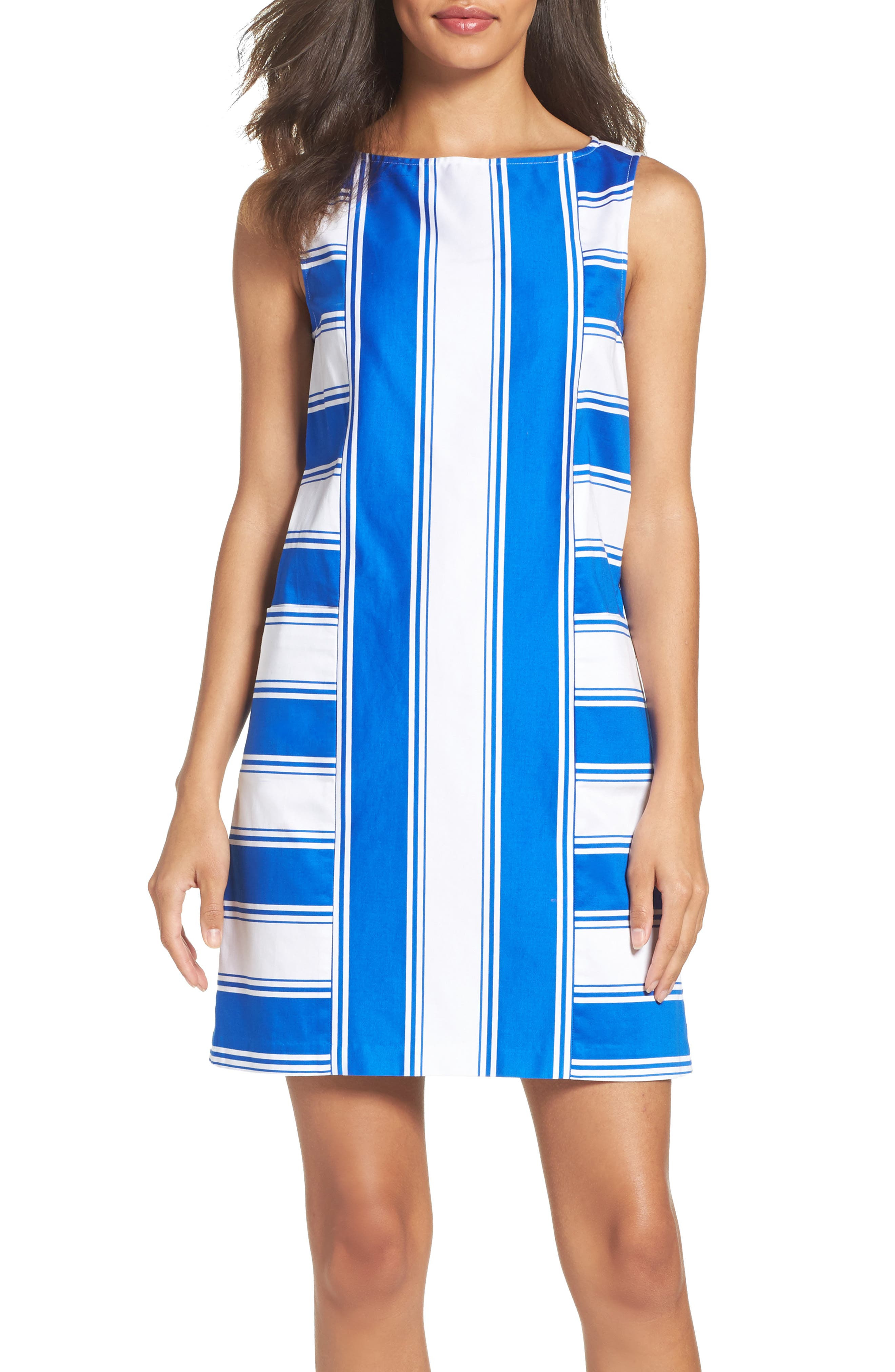 Adrianna Papell Stretch Cotton Shift Dress