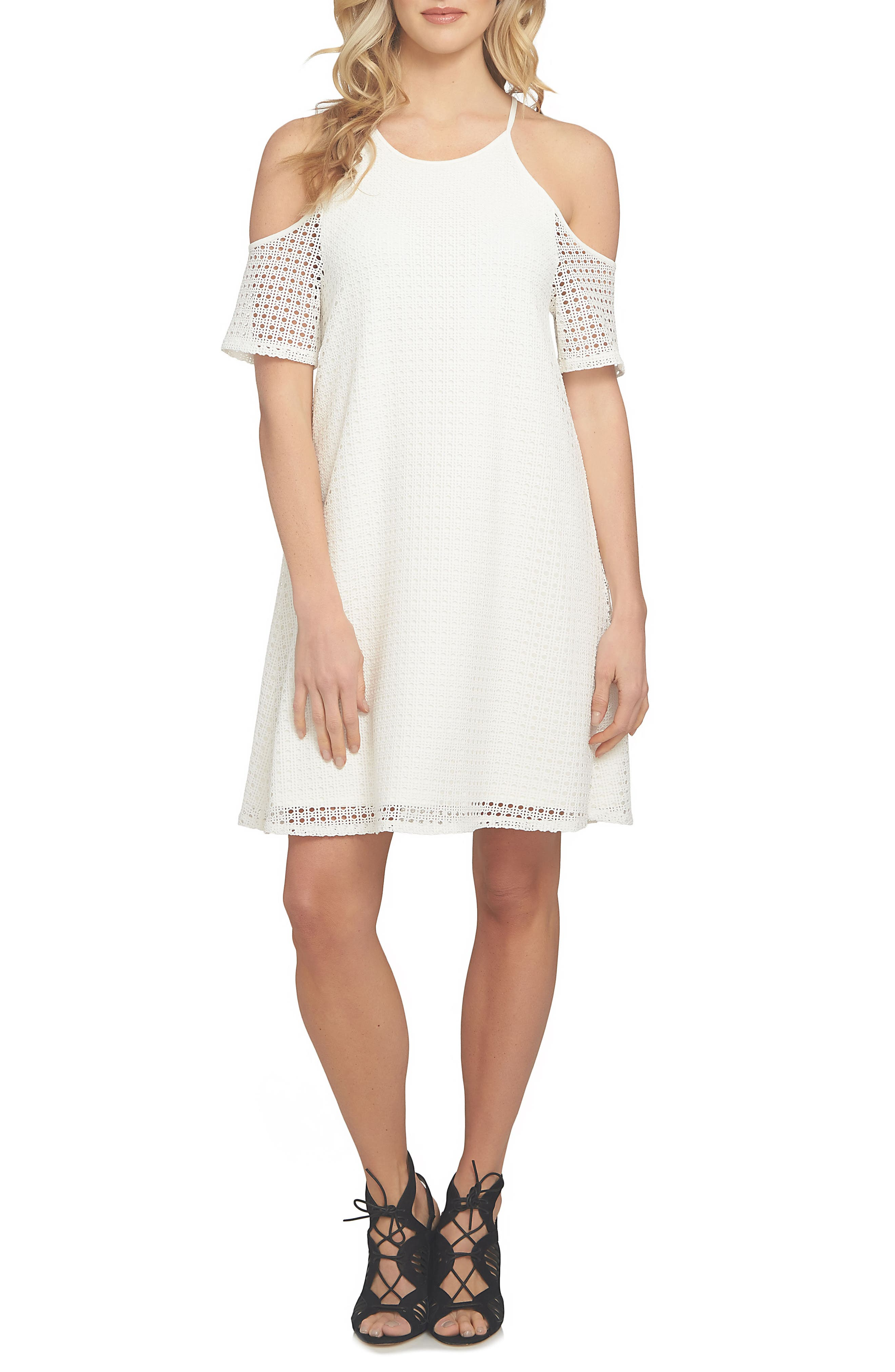 1.STATE Geo Mesh Off the Shoulder Dress