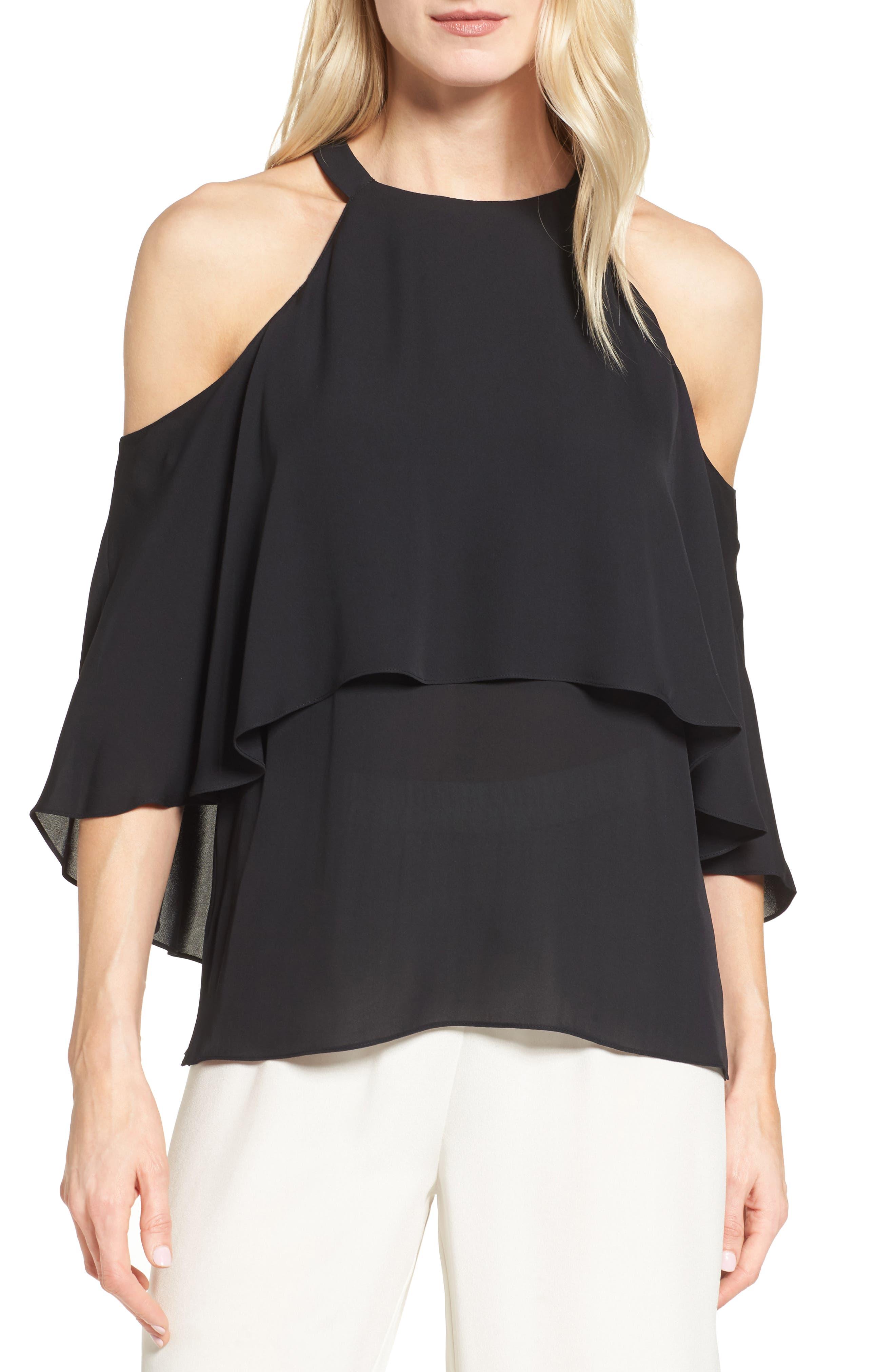 Kobi Halperin Langley Silk Cold Shoulder Blouse