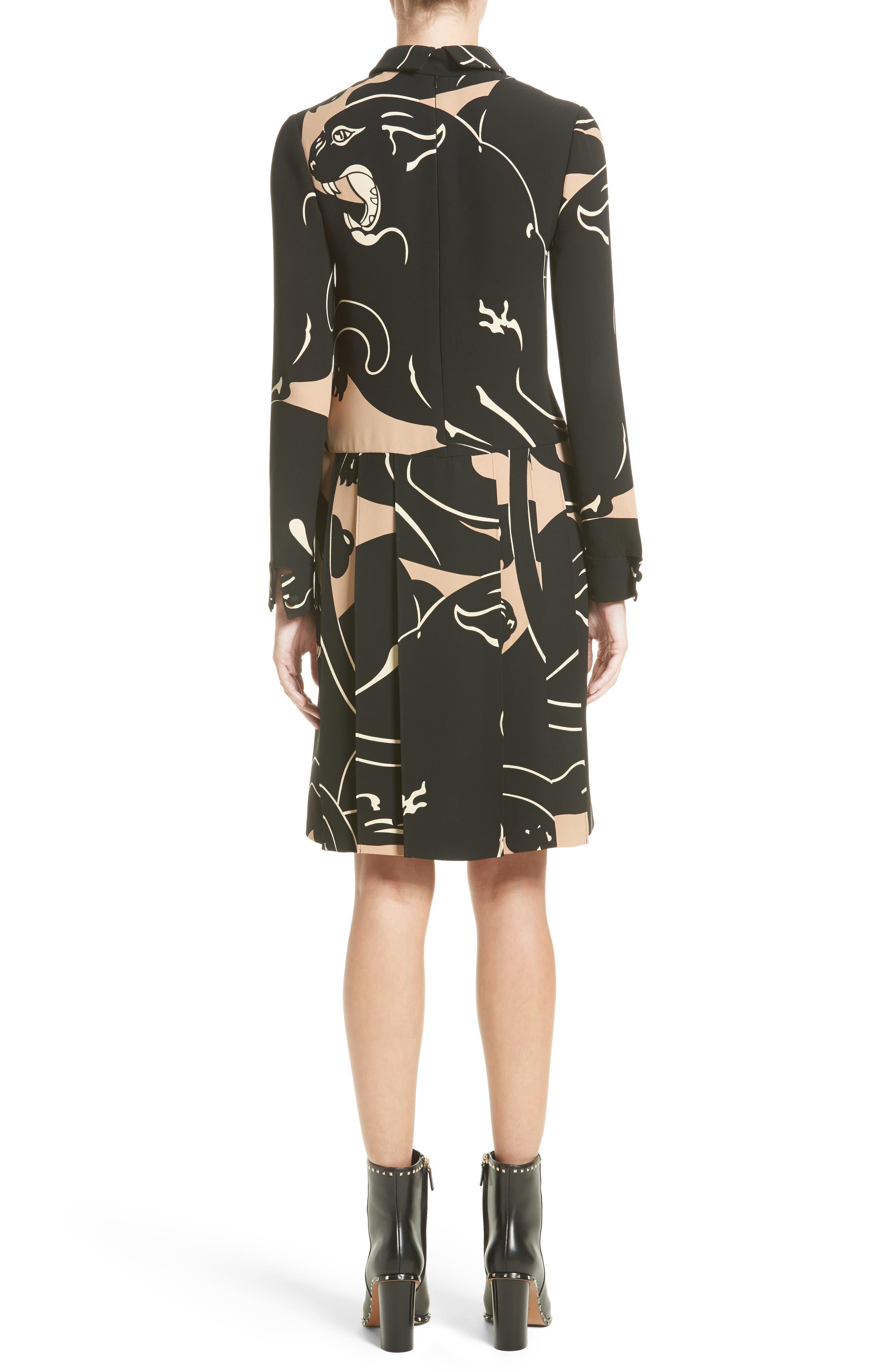 Alternate Image 2  - Valentino Panther Print Tie Neck Silk Cady Dress