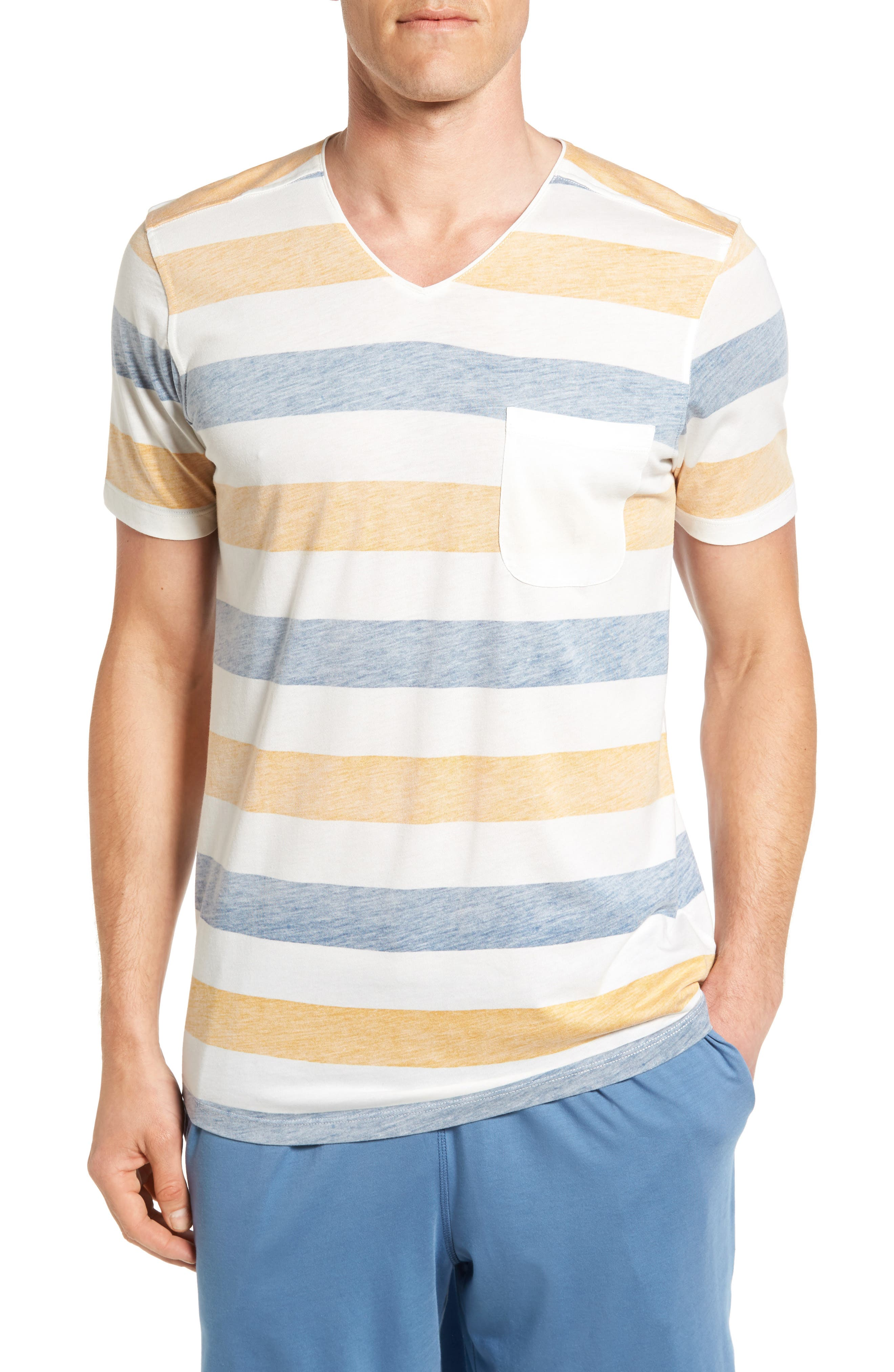 Daniel Buchler Reverse Stripe Pima Cotton & Modal V-Neck T-Shirt
