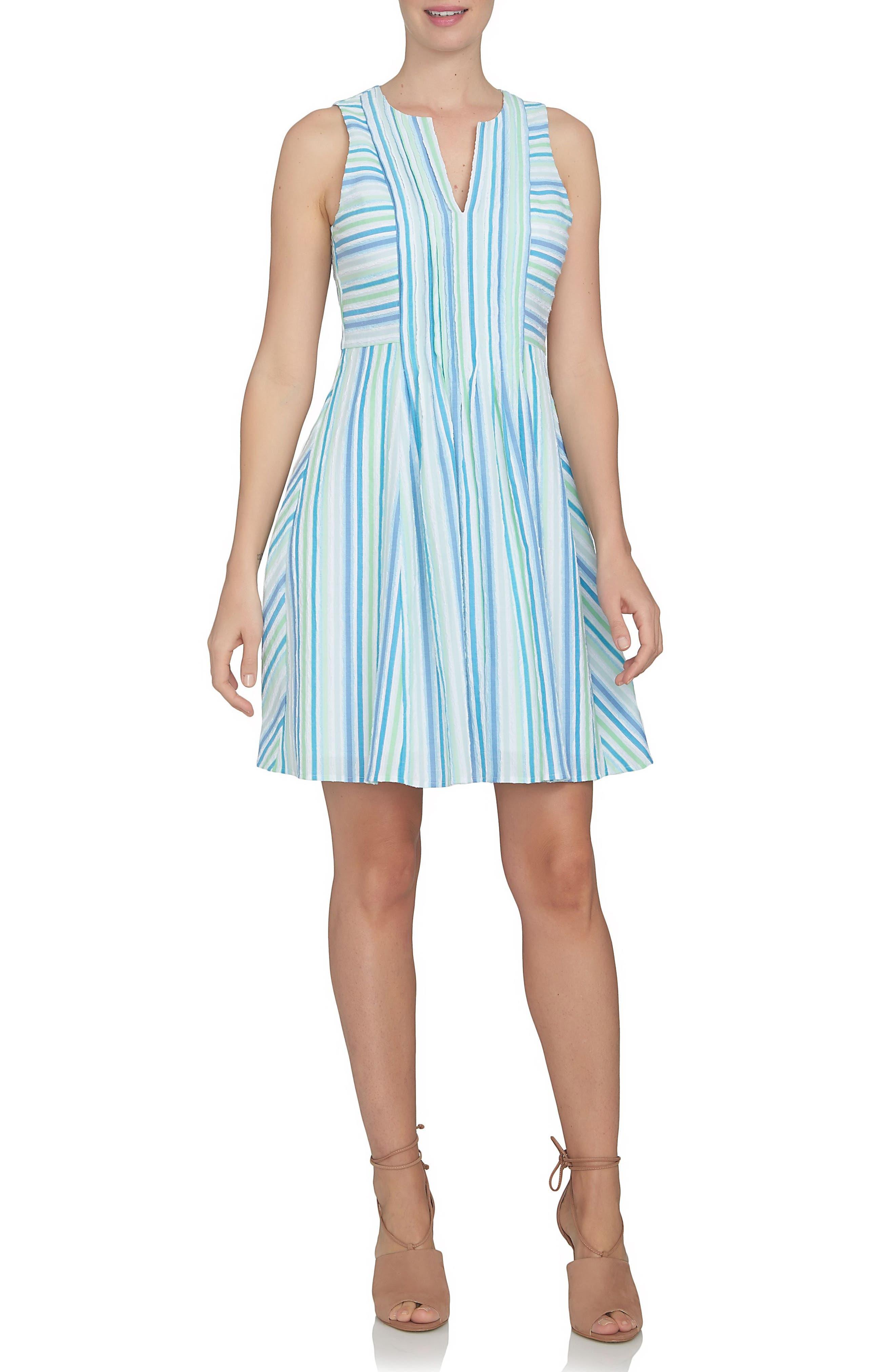 CeCe Stripe Gauze Fit & Flare Dress