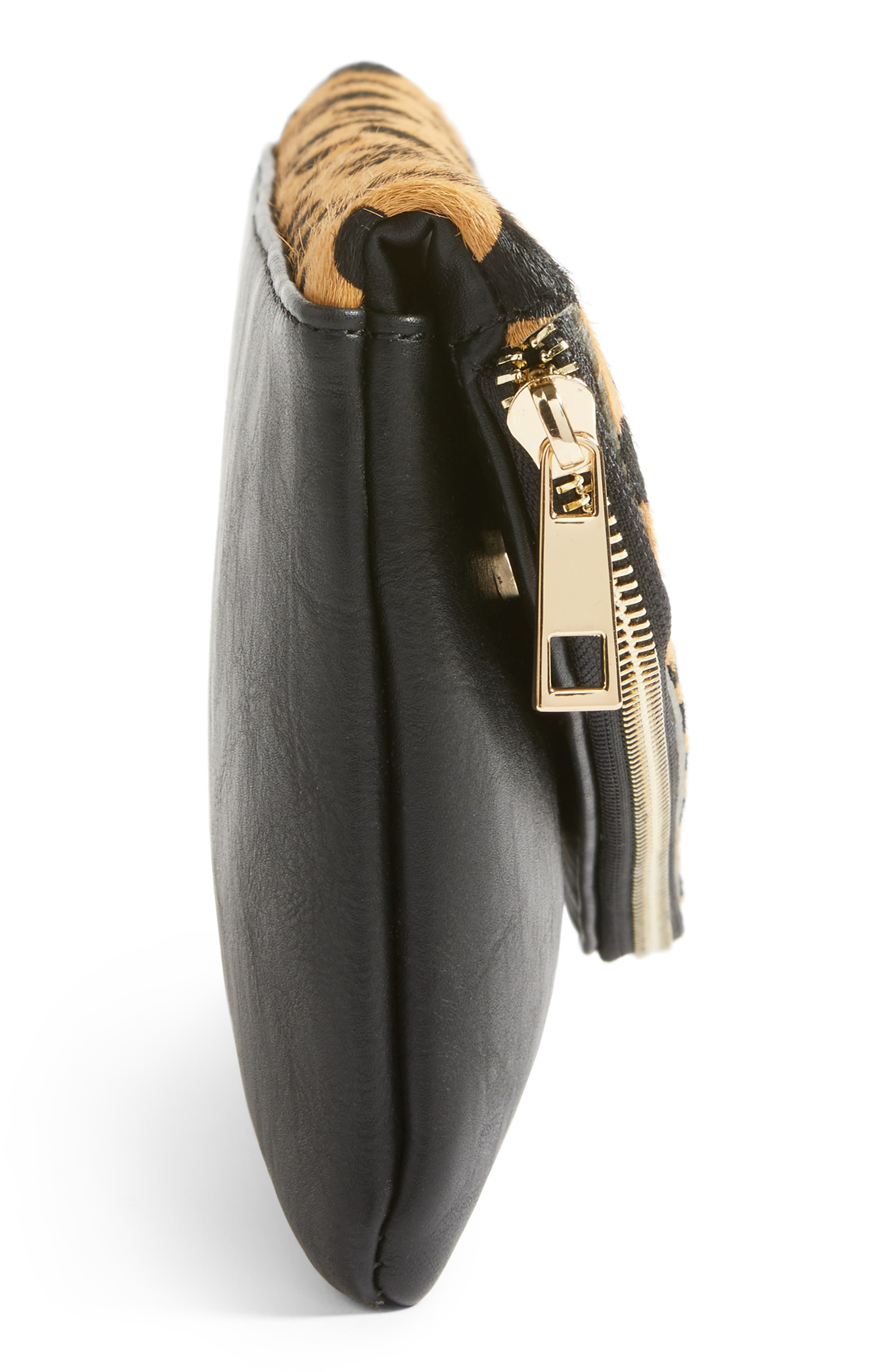 Alternate Image 5  - Sole Society Tamika Genuine Calf Hair & Faux Leather Foldover Clutch