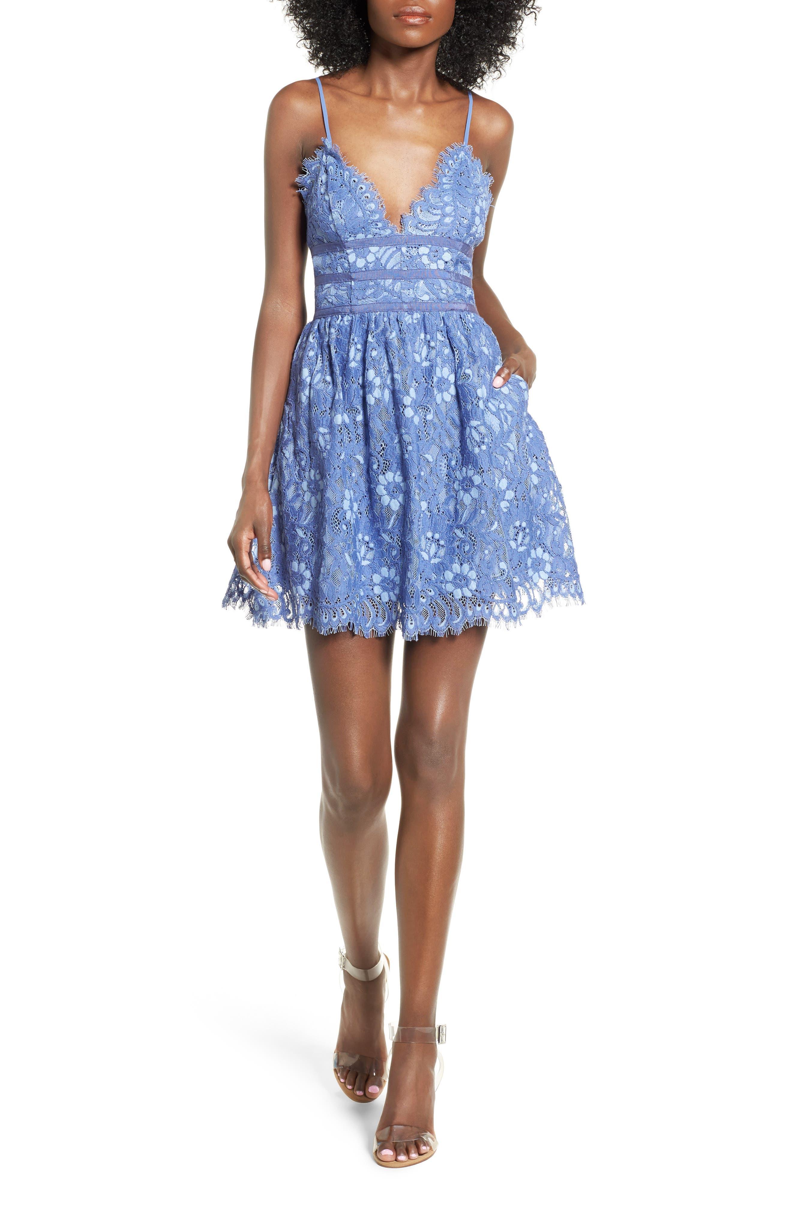 NBD Give It Up Lace Skater Dress
