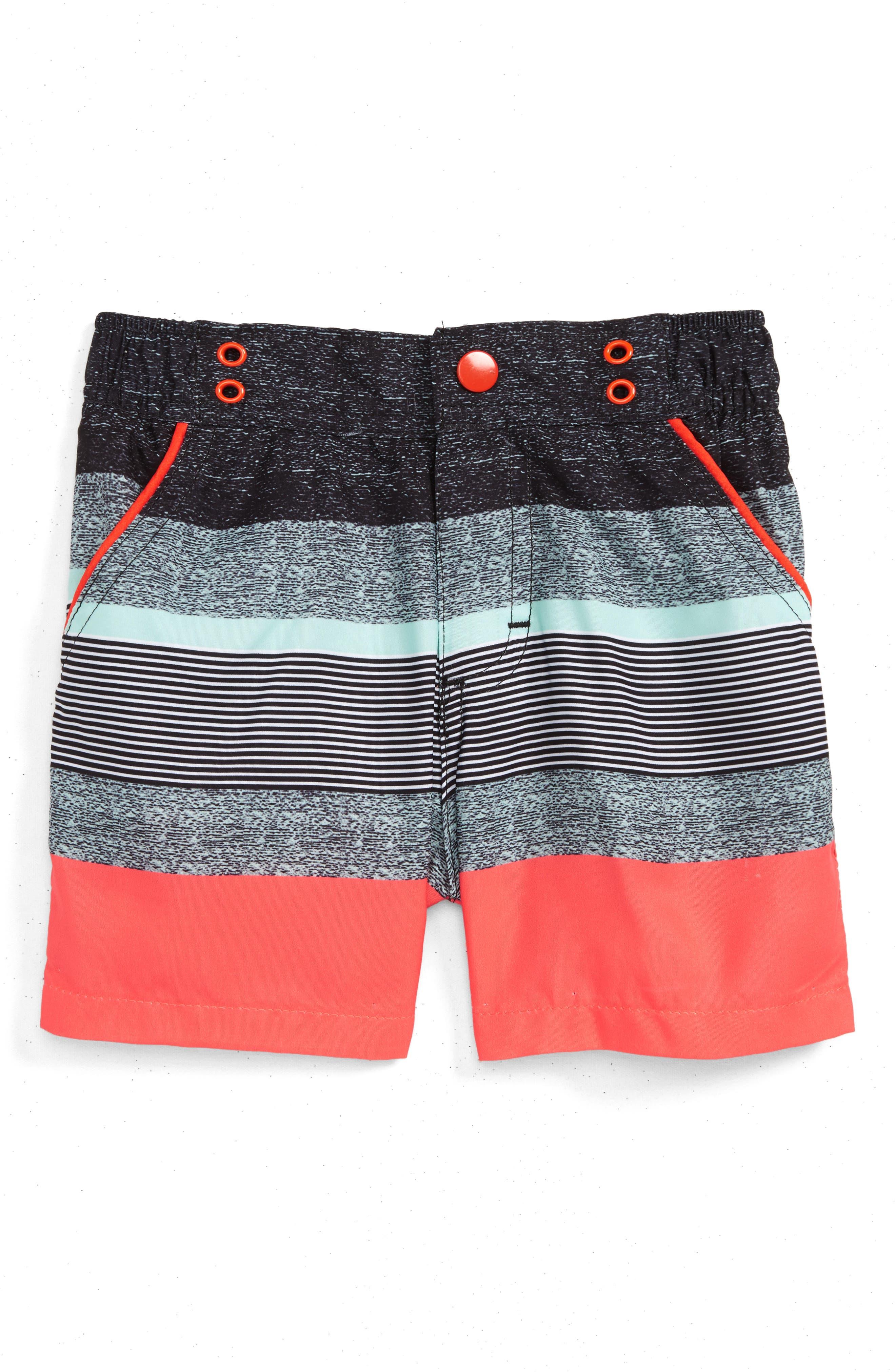 Andy & Evan Coral Stripe Swim Trunks (Baby Boys)