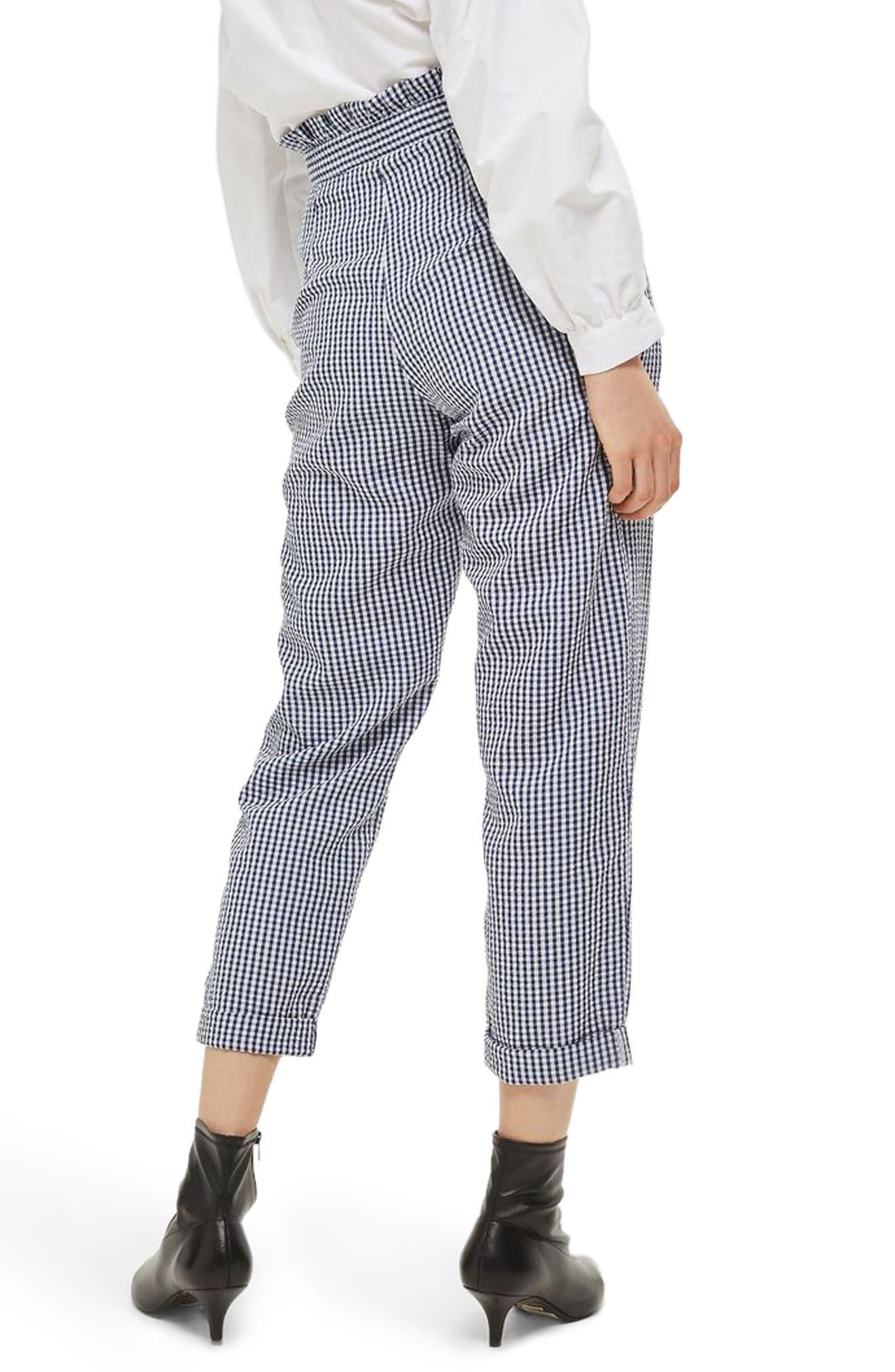 Alternate Image 2  - Topshop Ruffle Waist Gingham Trousers
