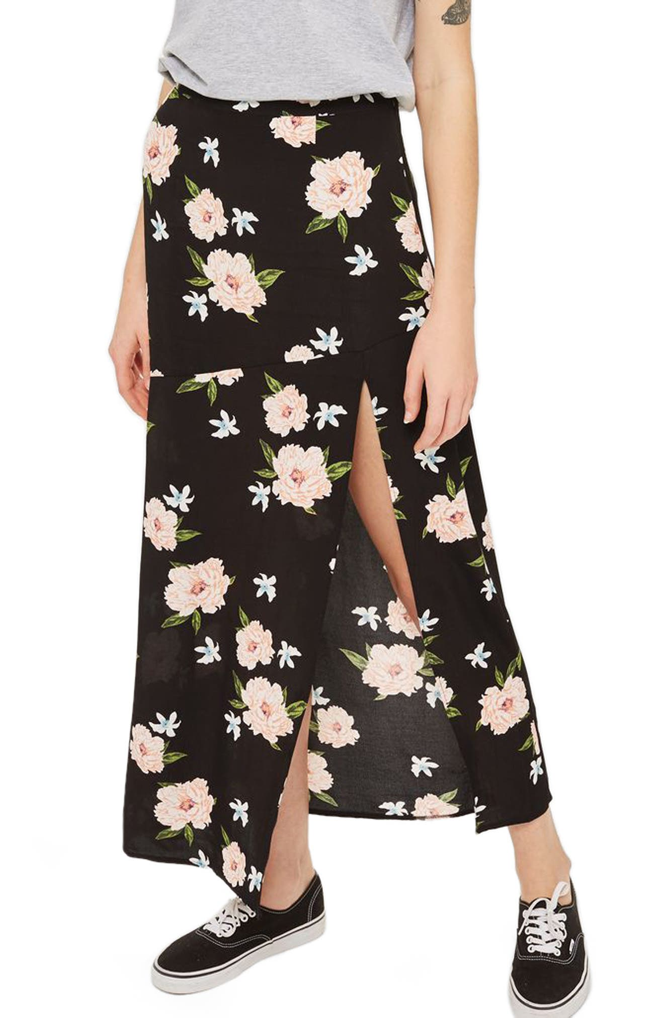 Alternate Image 1 Selected - Topshop Split Floral Maxi Skirt