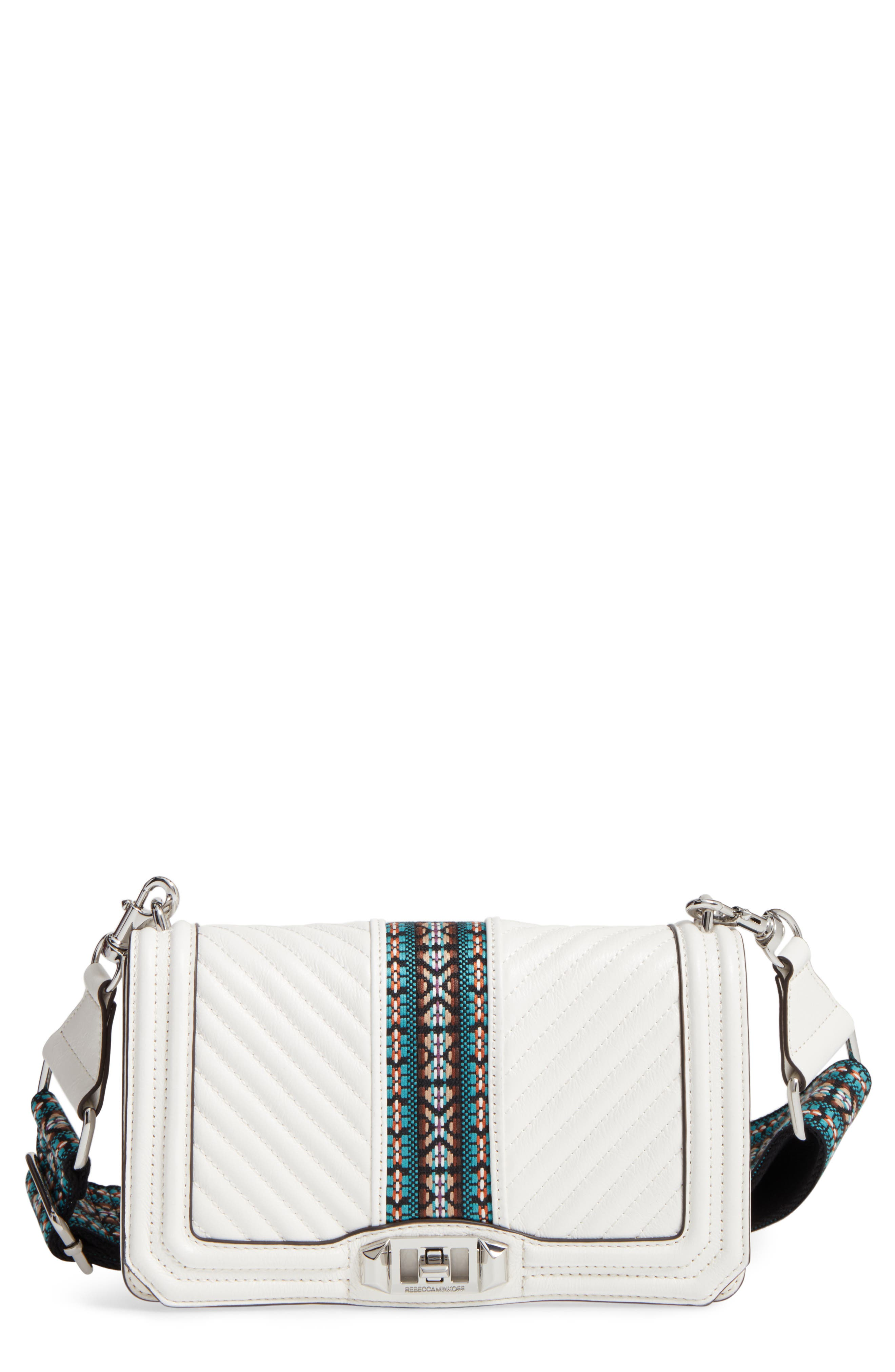 Rebecca Minkoff Jacquard Love Leather Crossbody Bag with Guitar Strap