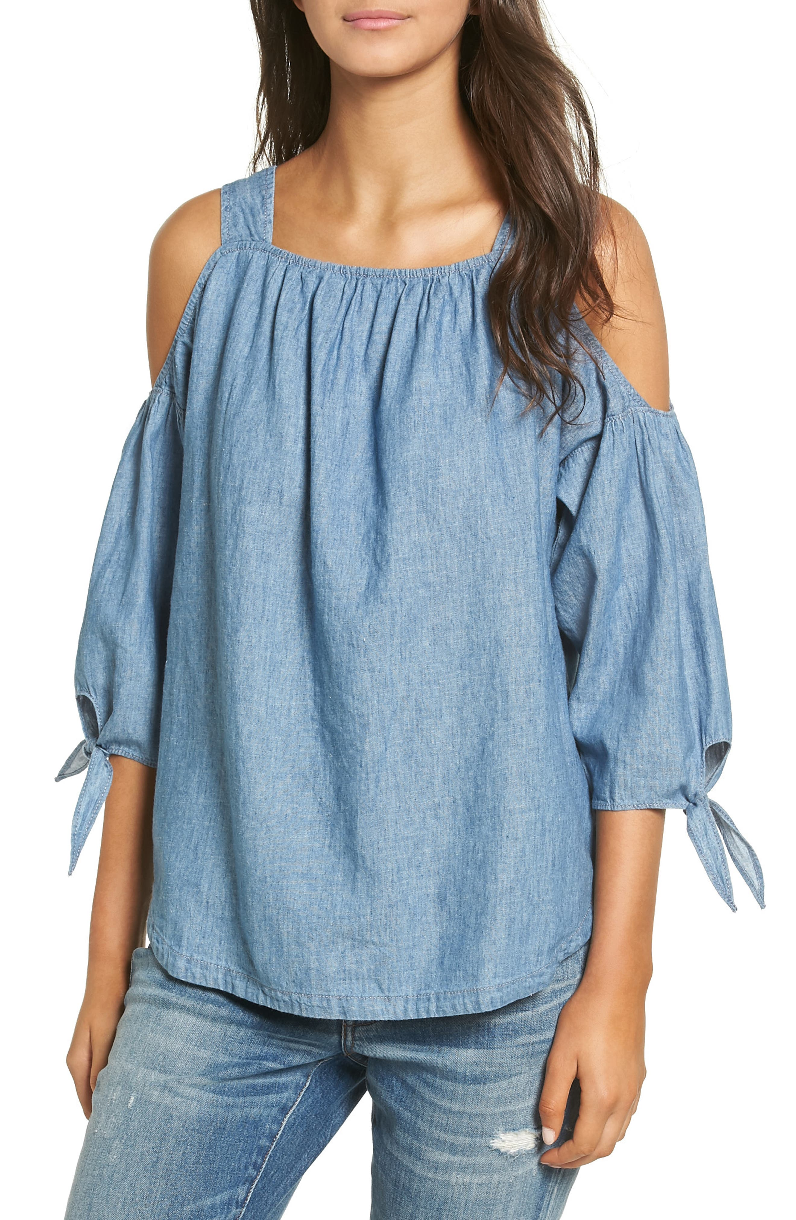 Alternate Image 1 Selected - Madewell Chambray Cold Shoulder Top