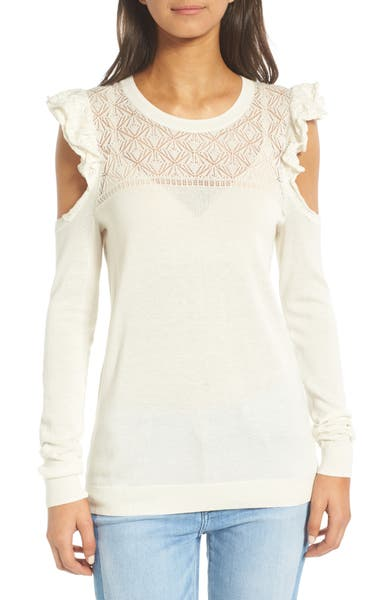 Main Image - Hinge Ruffle Cold Shoulder Sweater