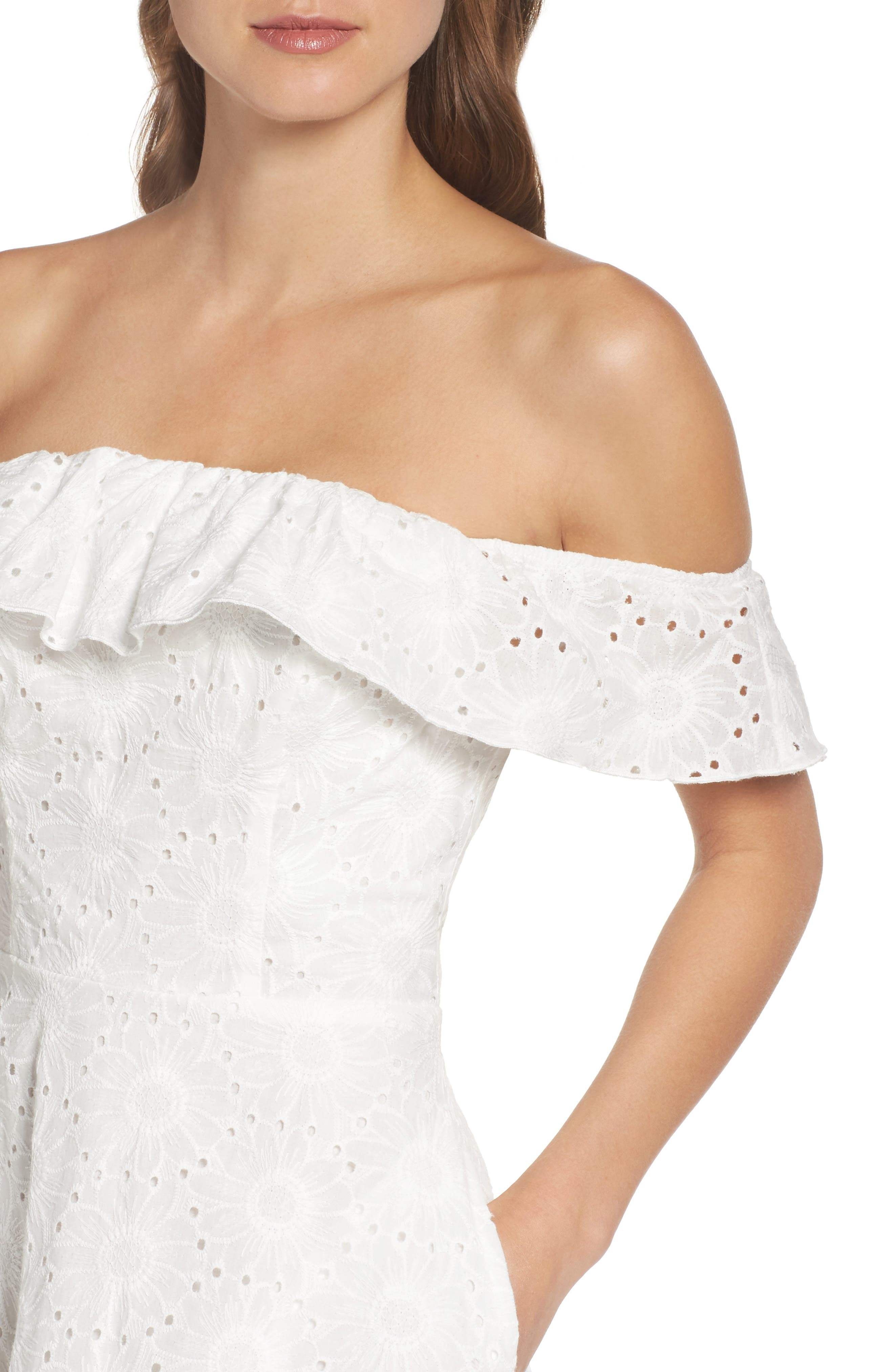 Alternate Image 4  - Chelsea28 Eyelet Off the Shoulder Dress