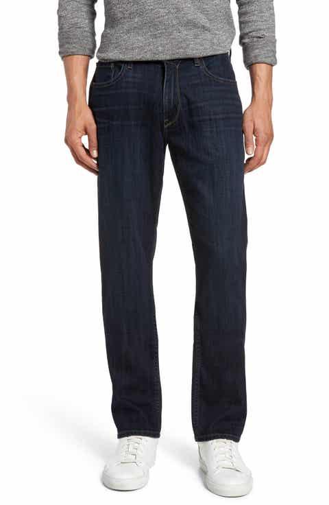 Men's Dark Blue Wash Jeans, Relaxed, Bootcut Fit & Selvedge Denim ...