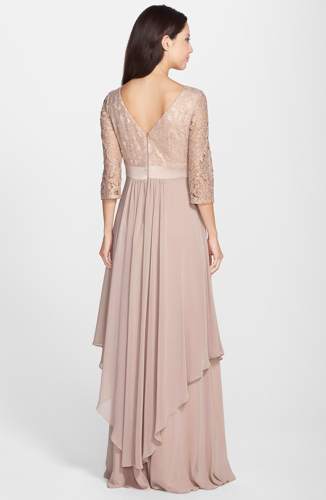 Alternate Image 2  - Eliza J Embellished Lace & Chiffon Gown