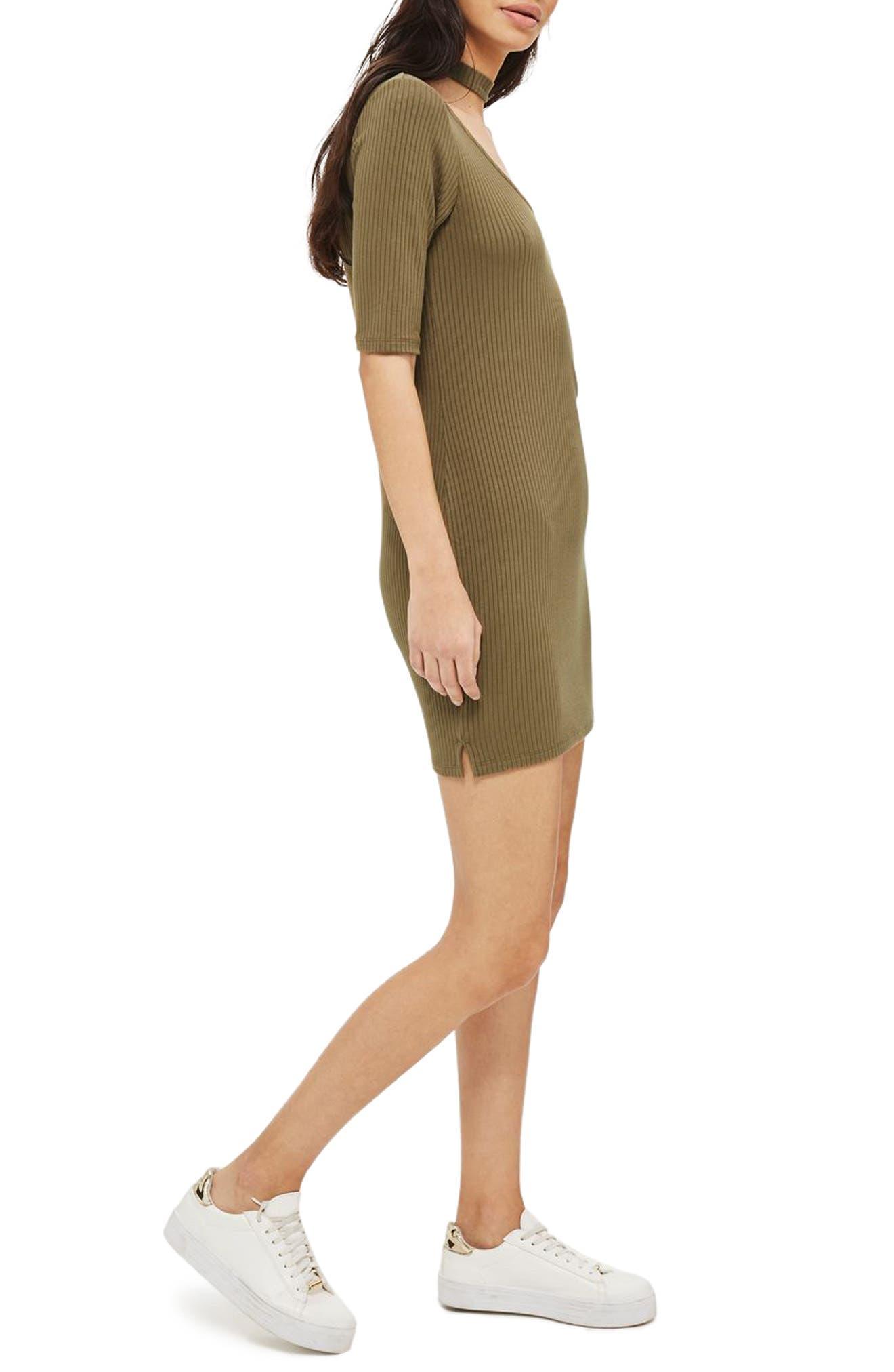 Main Image - Topshop Ribbed Choker Minidress
