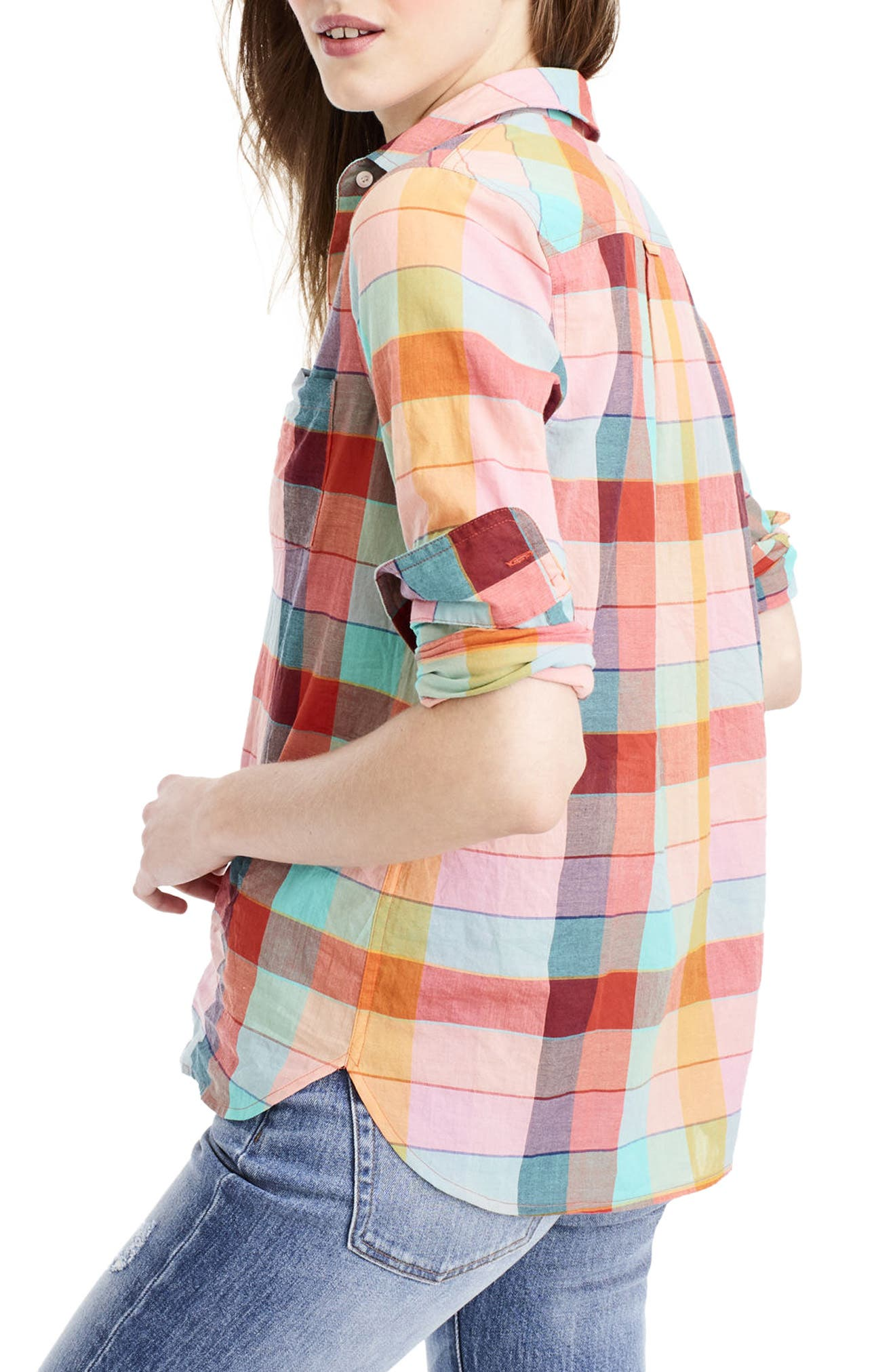 Alternate Image 2  - J.Crew Rainbow Vintage Plaid Lightweight Popover Shirt (Regular & Petite)