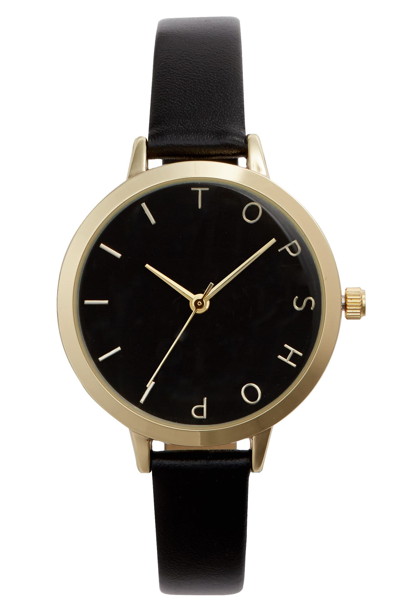Topshop Moon Face Leather Strap Watch, 51mm